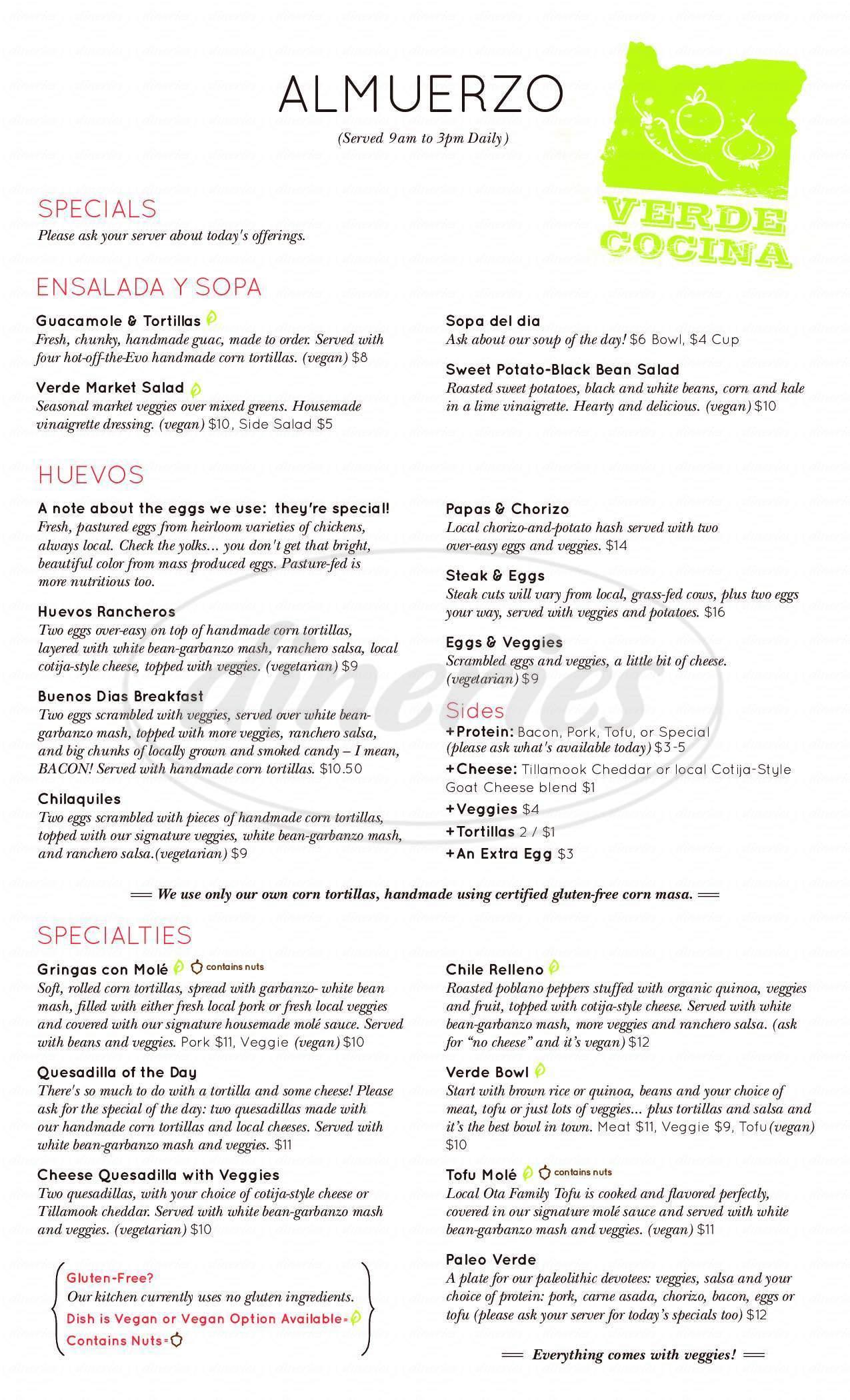 menu for Verde Cocina