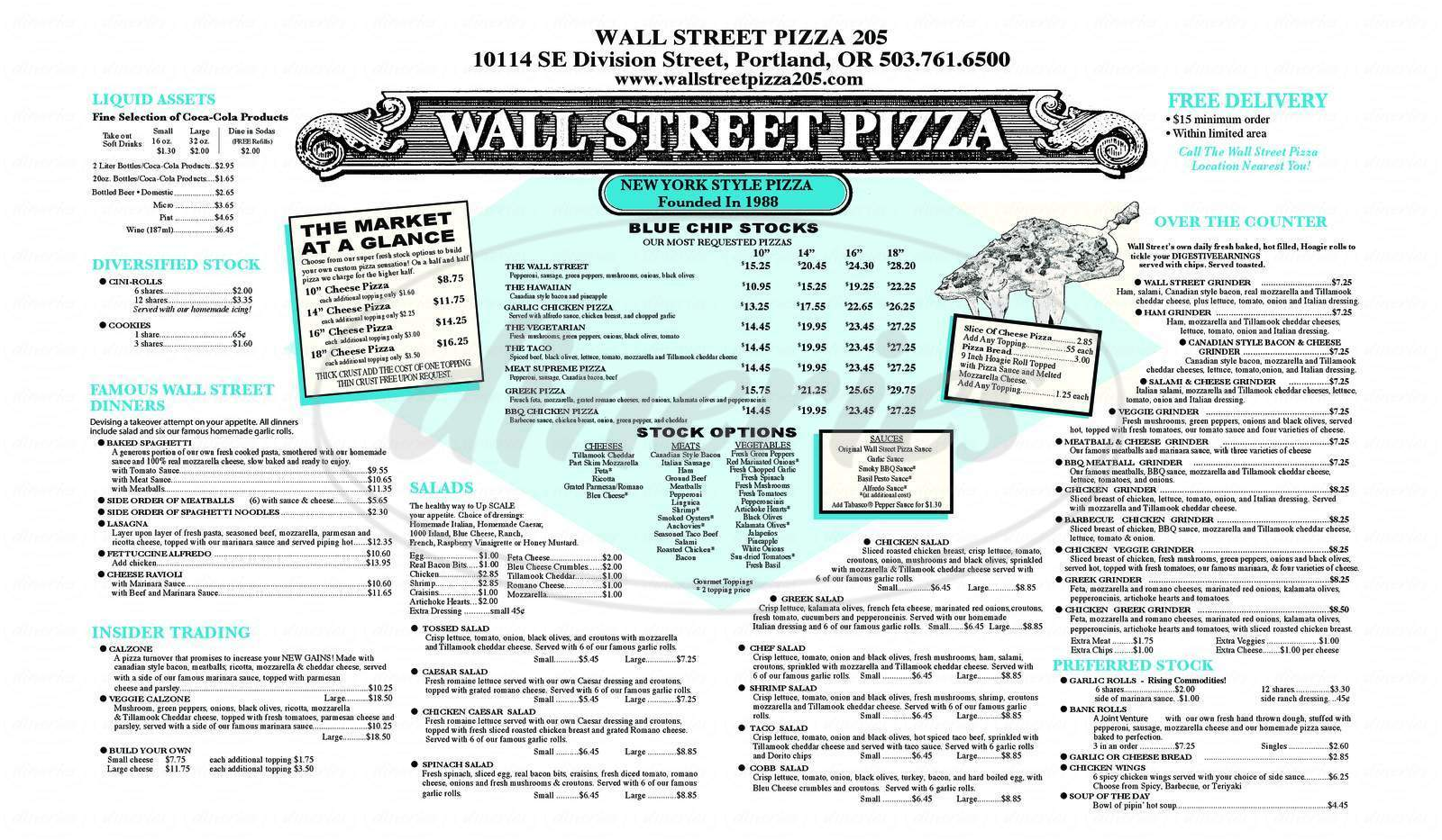 menu for Wall Street Pizza