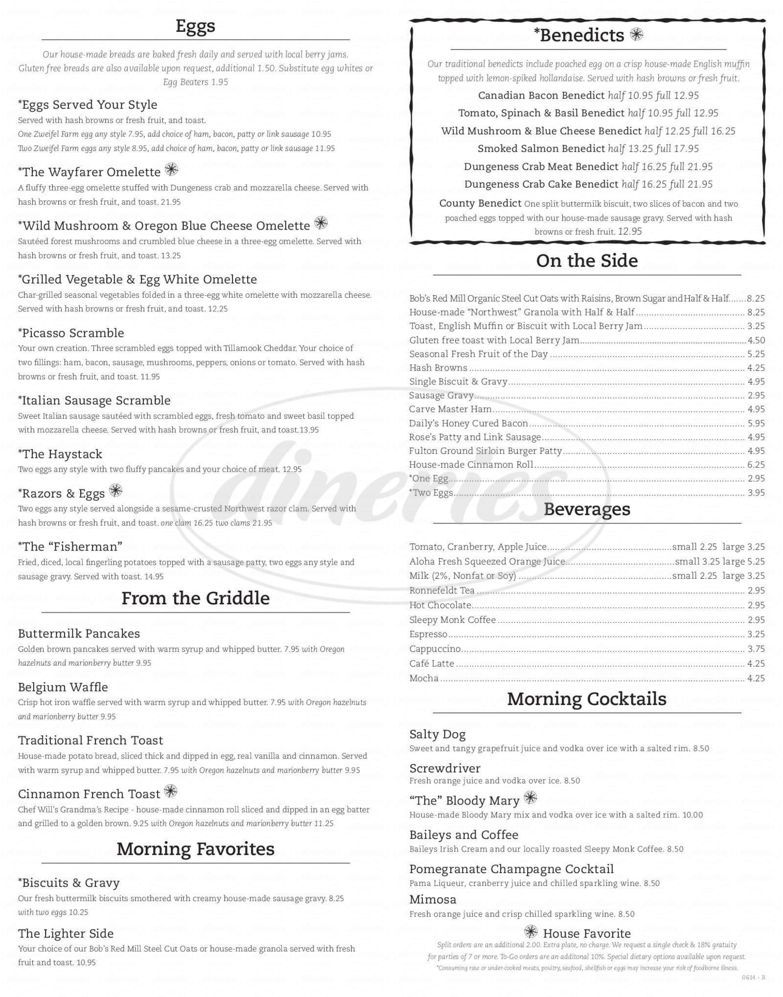 menu for Wayfarer Restaurant