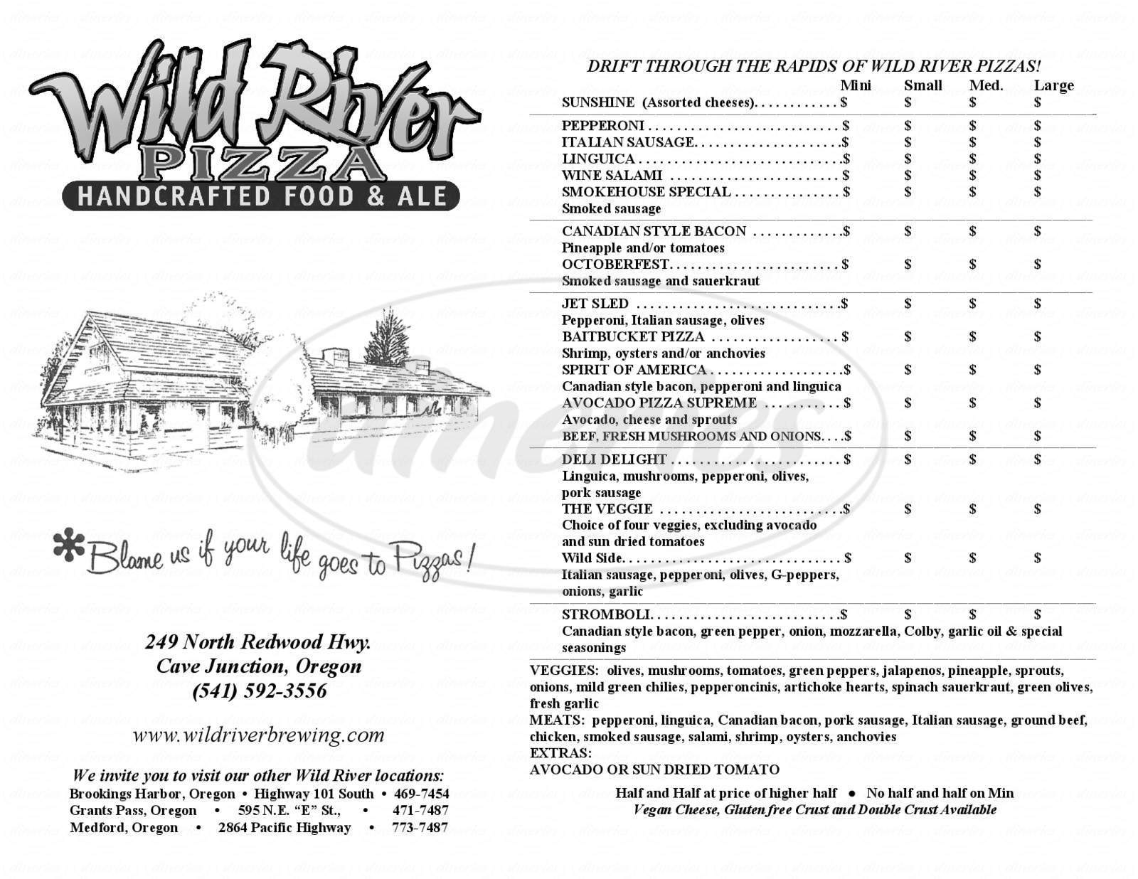 menu for Wild River Brewing & Pizza Company
