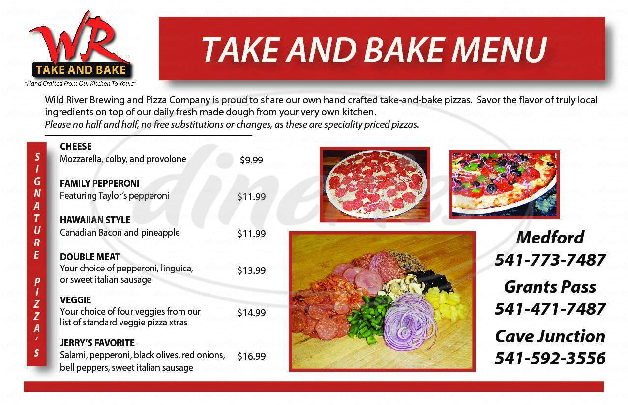 menu for Wild River Brewing & Pizza