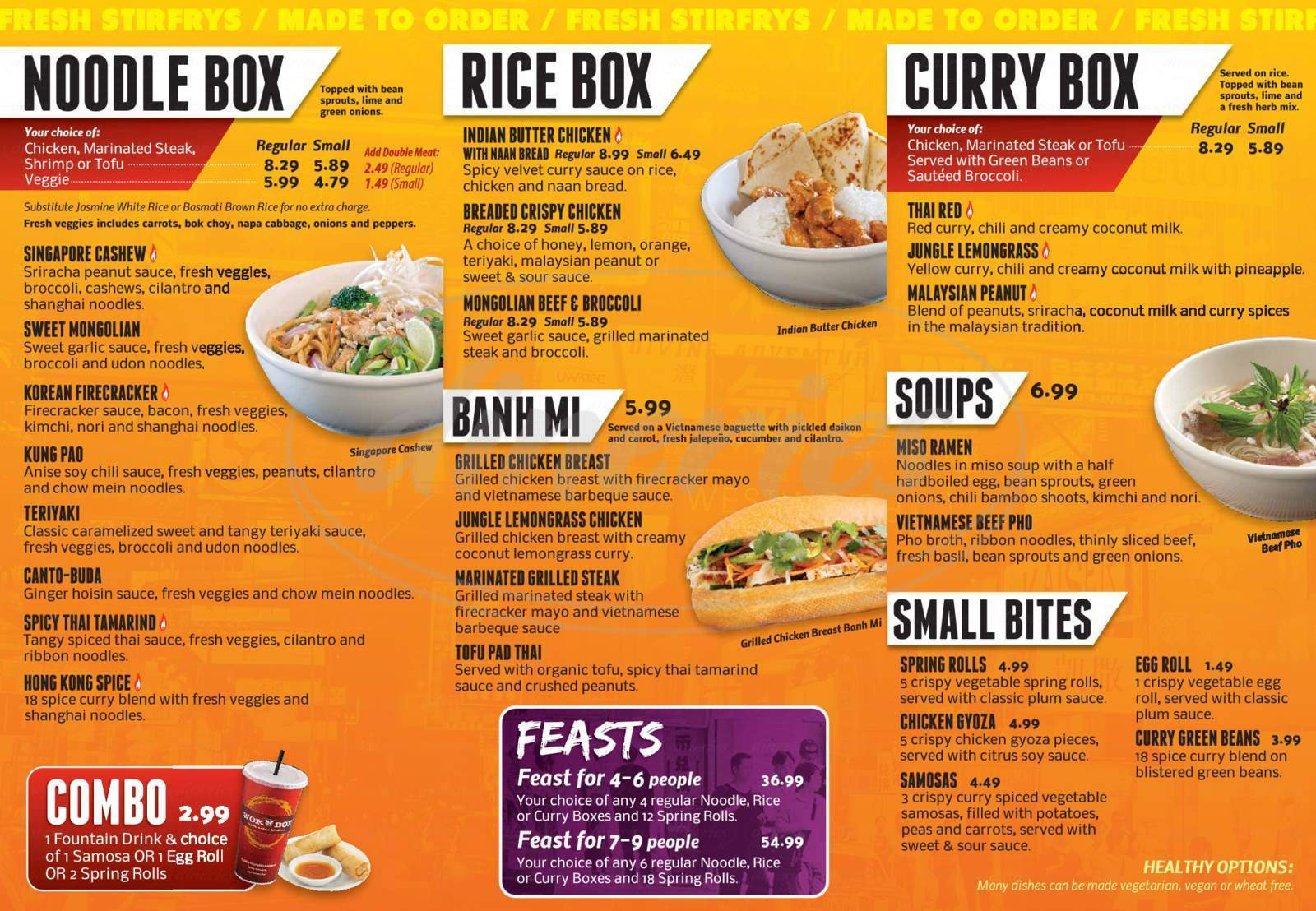 menu for Wok Box