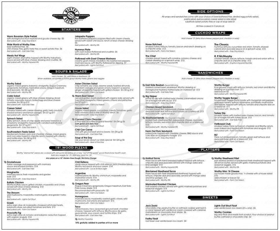 menu for Worthy Brewing Co