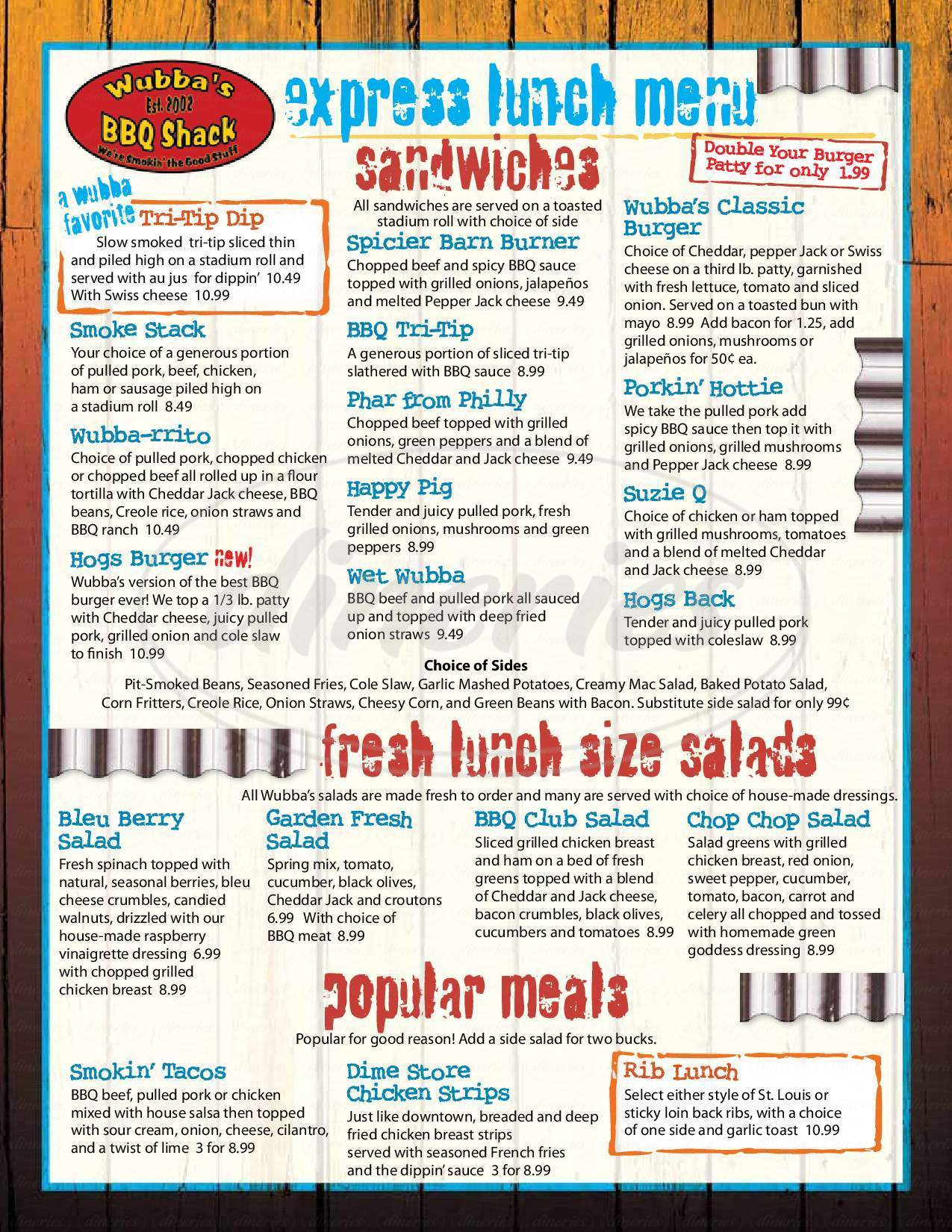 menu for Wubba's BBQ Shack