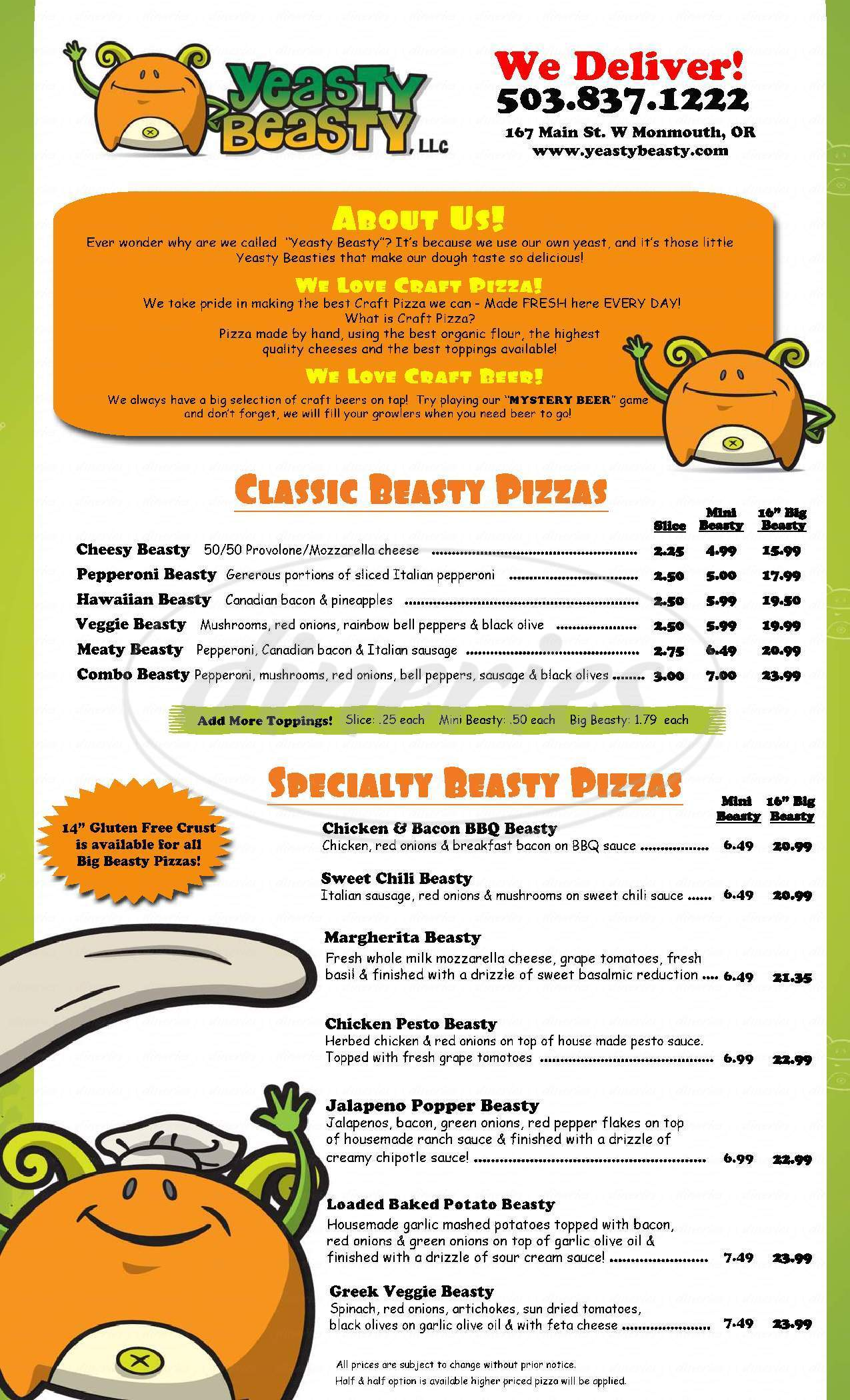 menu for Yeasty Beasty, LLC
