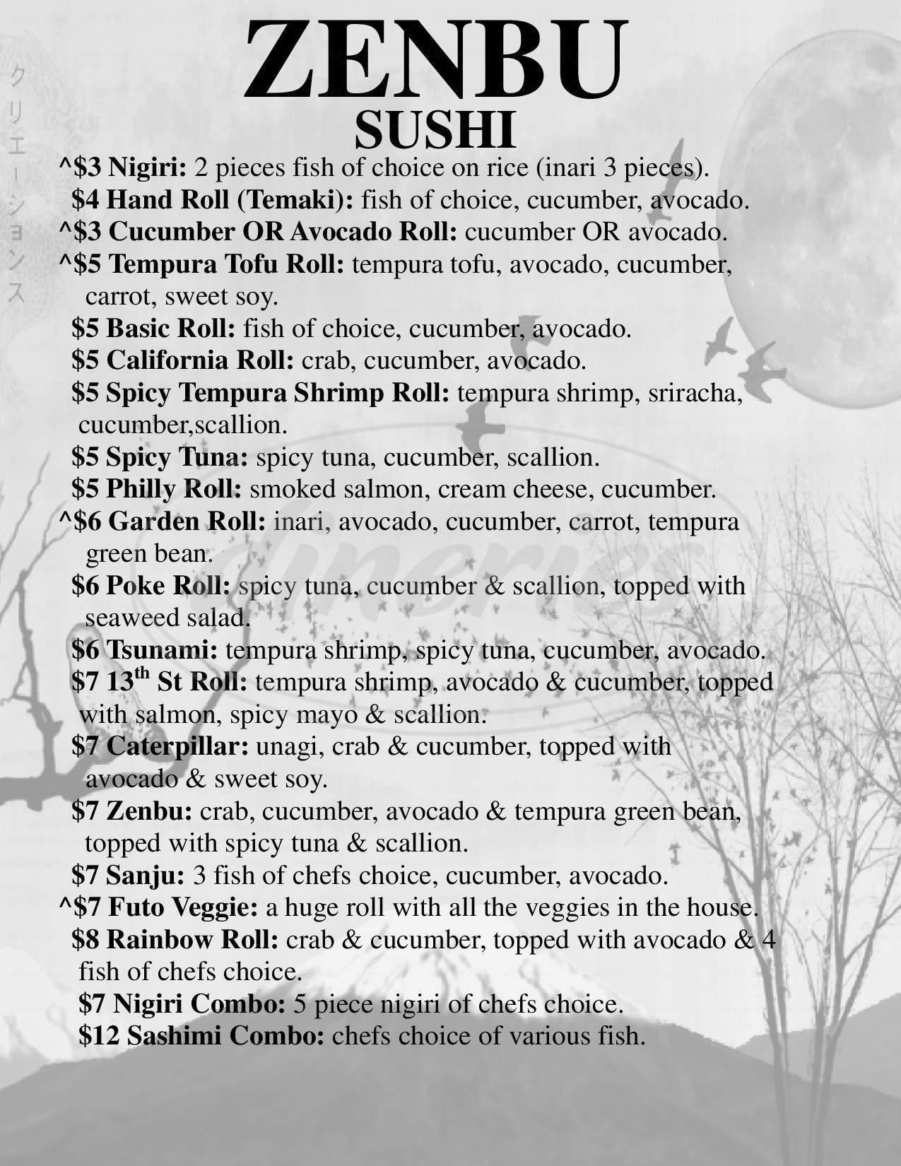 menu for Zenbu