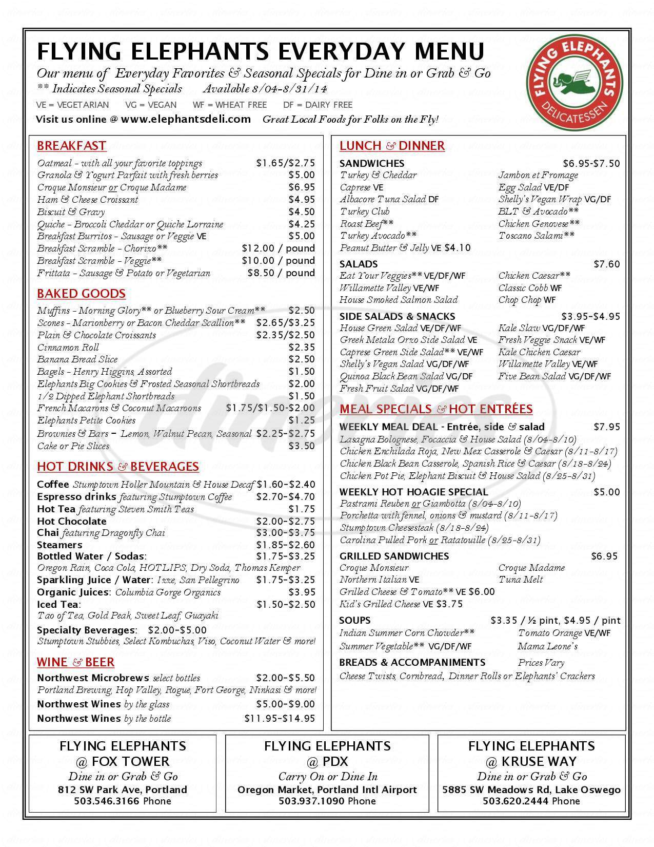 menu for Flying Elephants
