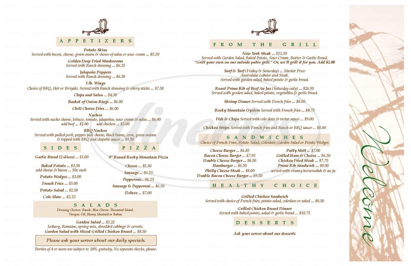 menu for Lulu's Inn