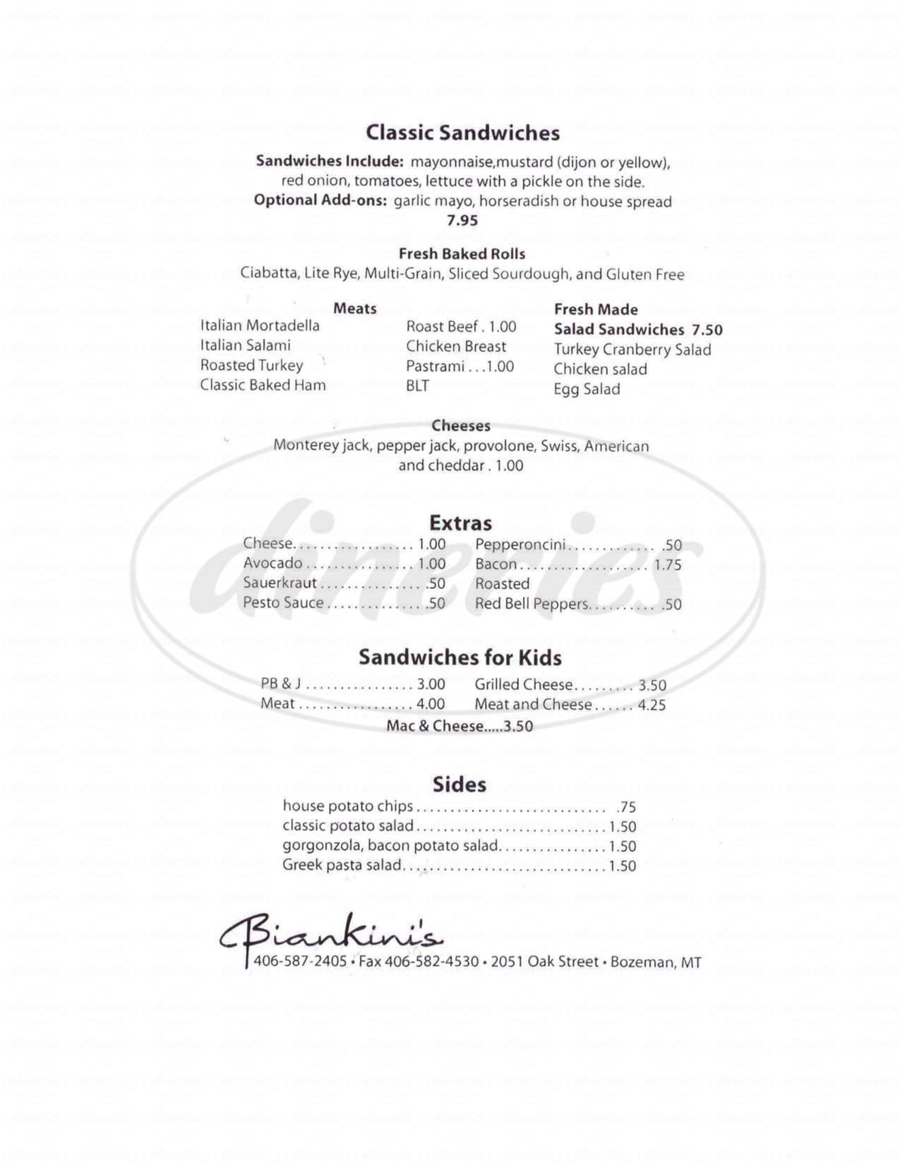 menu for Biankini's