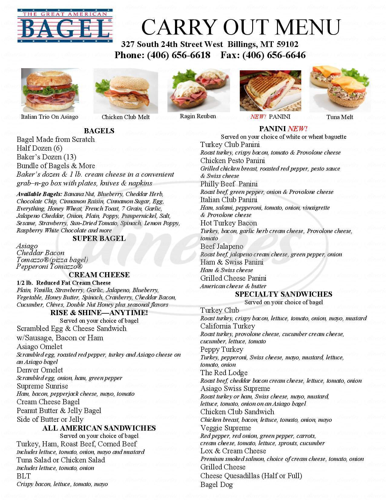 menu for Great American Bagel
