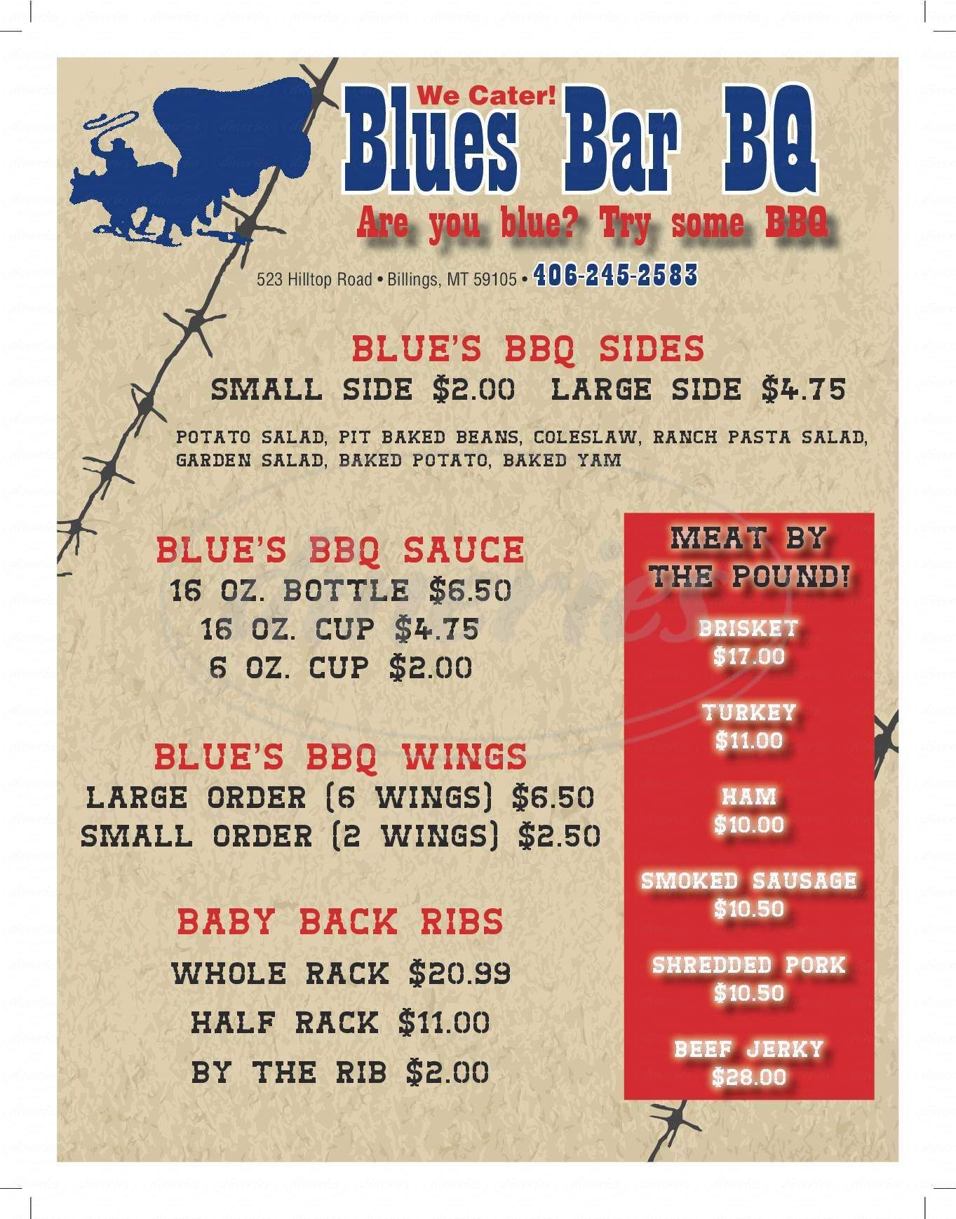 menu for Blue's Bbq