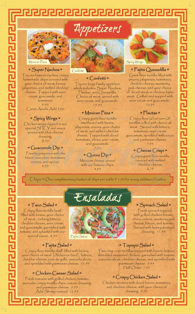menu for Casa Mexico