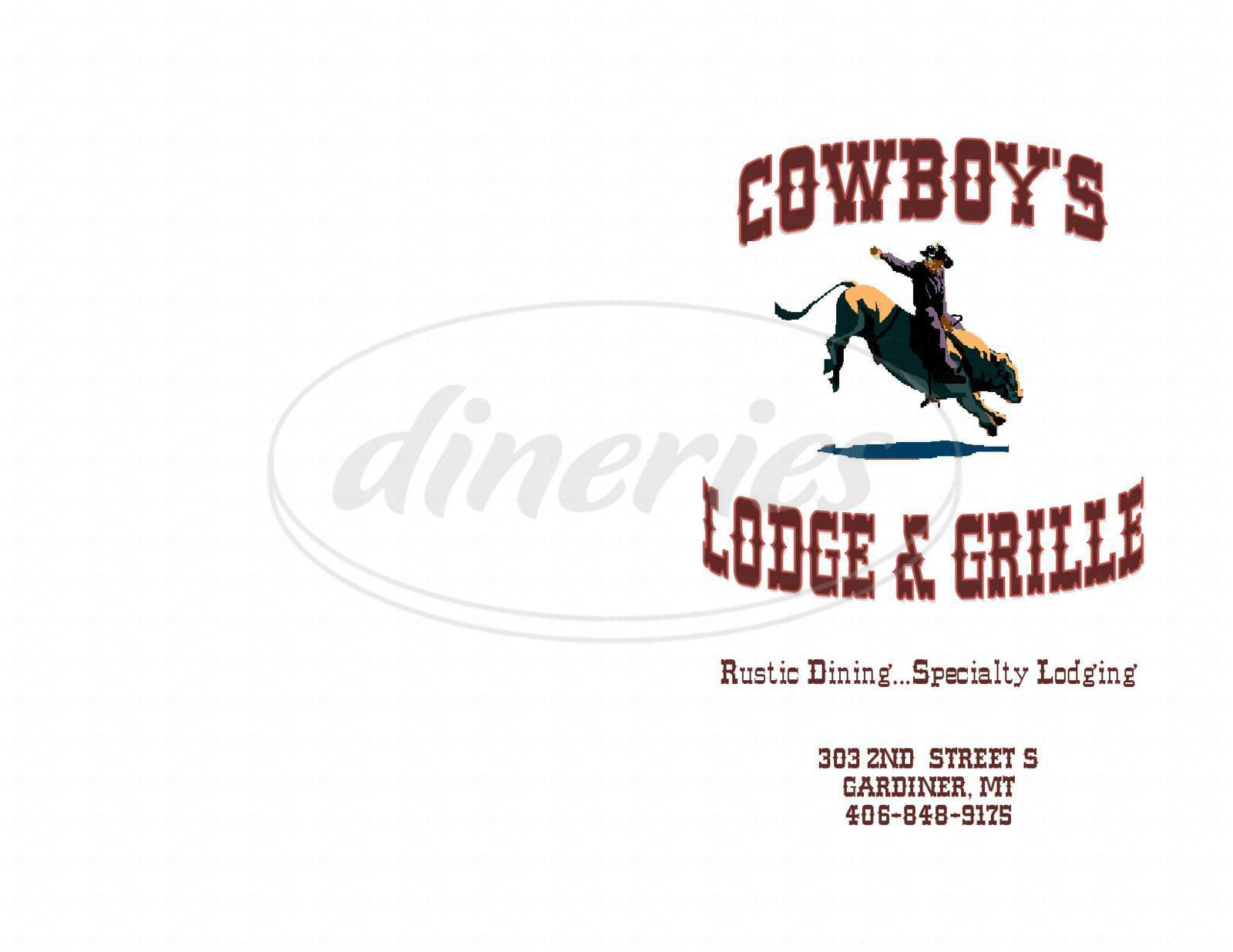 menu for Cowboy's Lodge & Grille