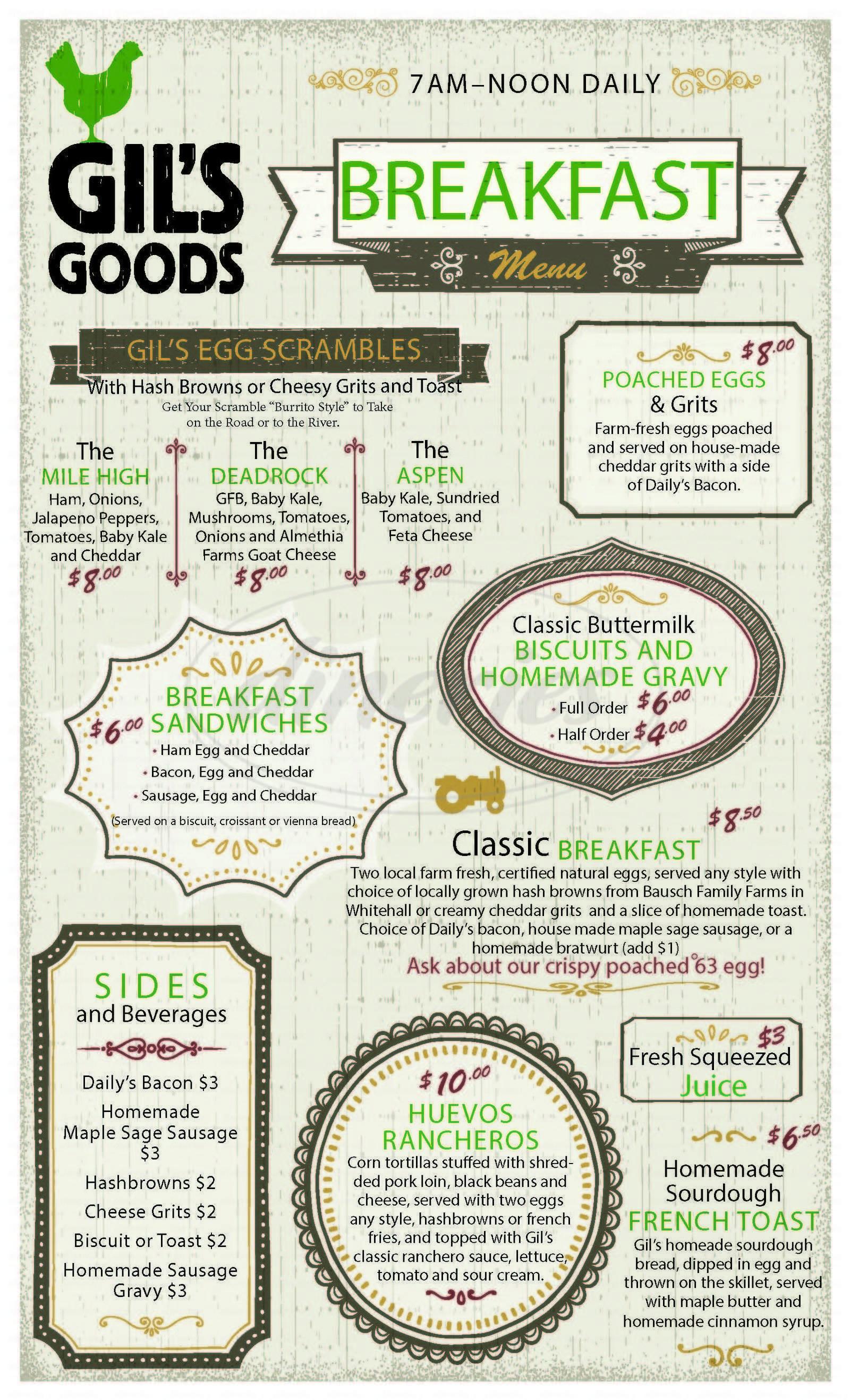 menu for Gil's Goods