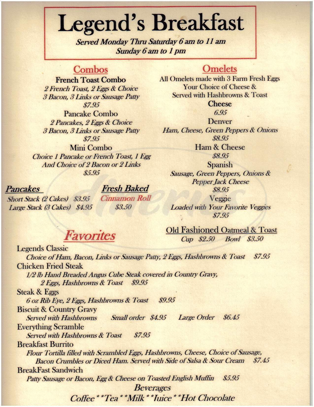 menu for Legends Bar & Grill