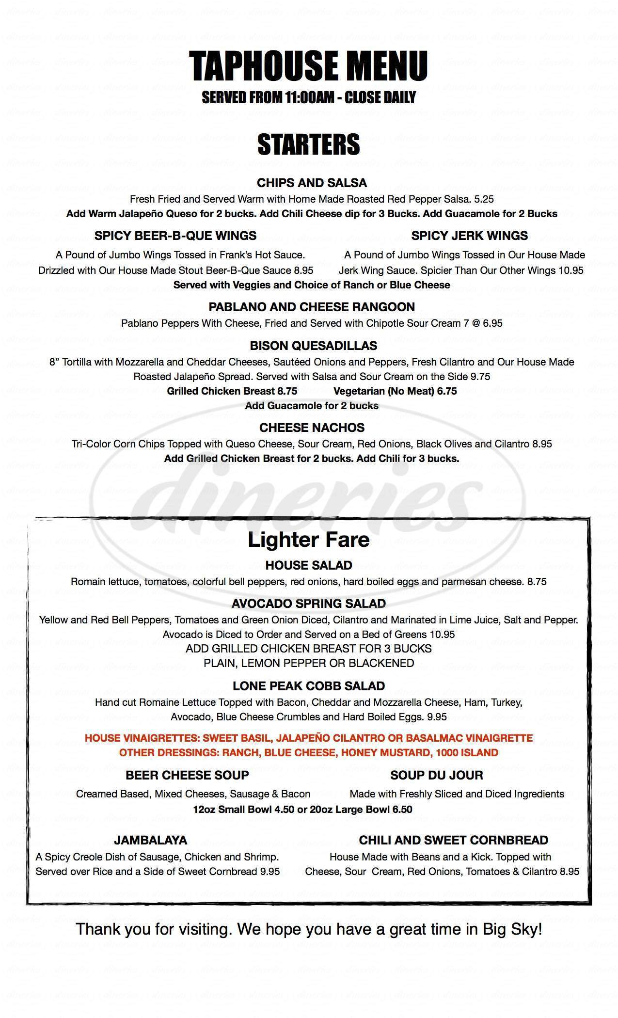 menu for Lone Peak Brewery
