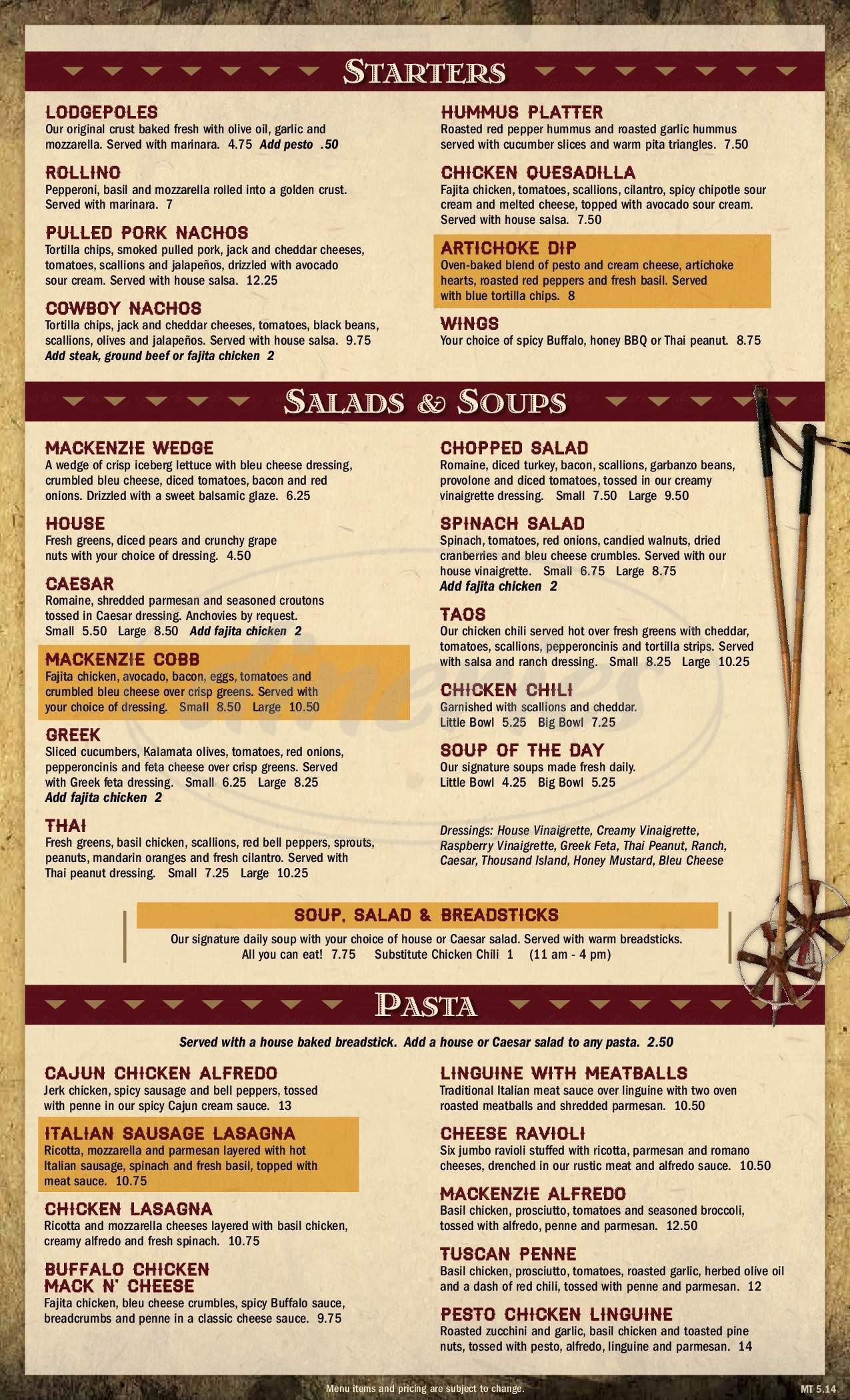 menu for MacKenzie River Pizza Co.