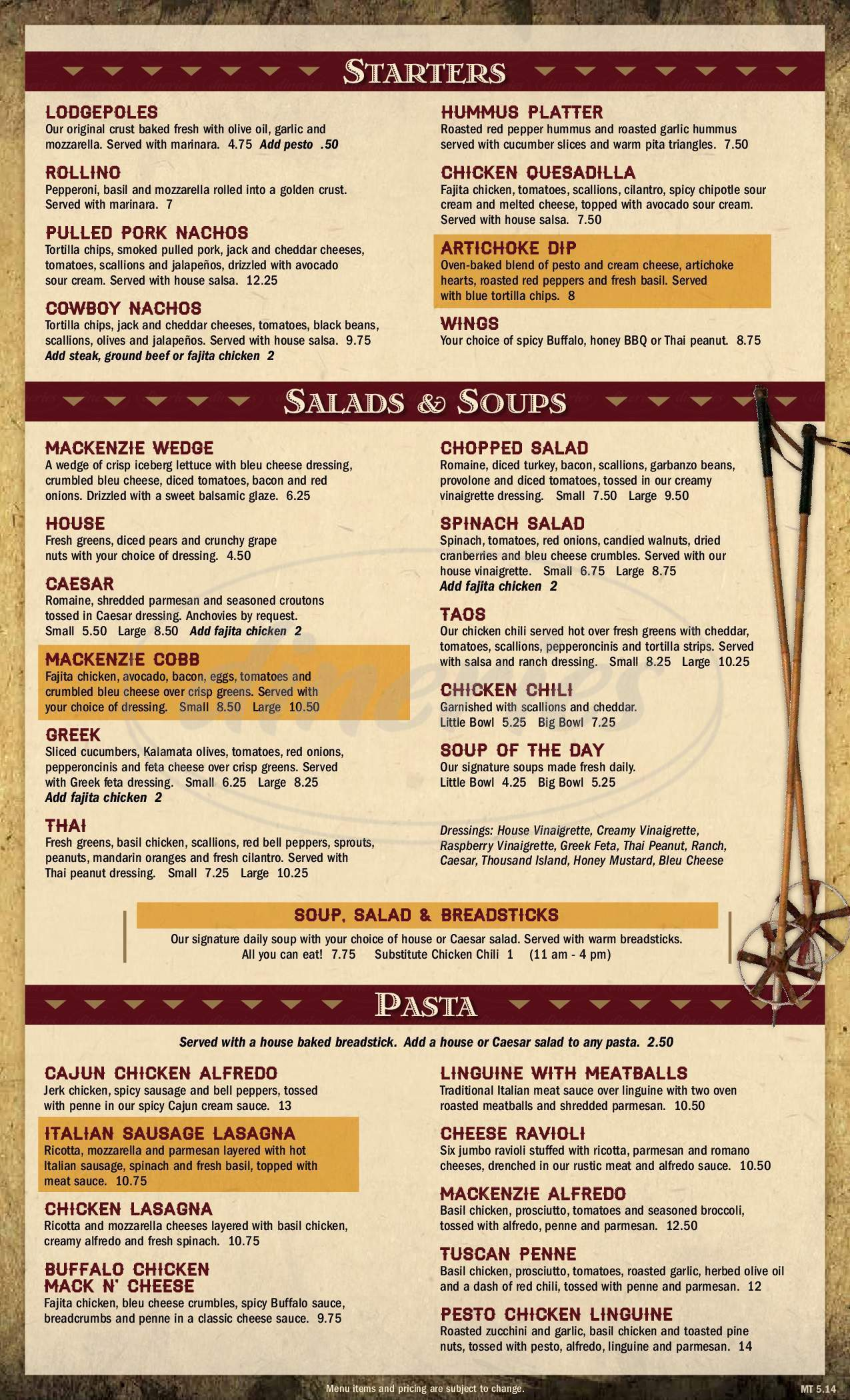menu for MacKenzie River Pizza Co.