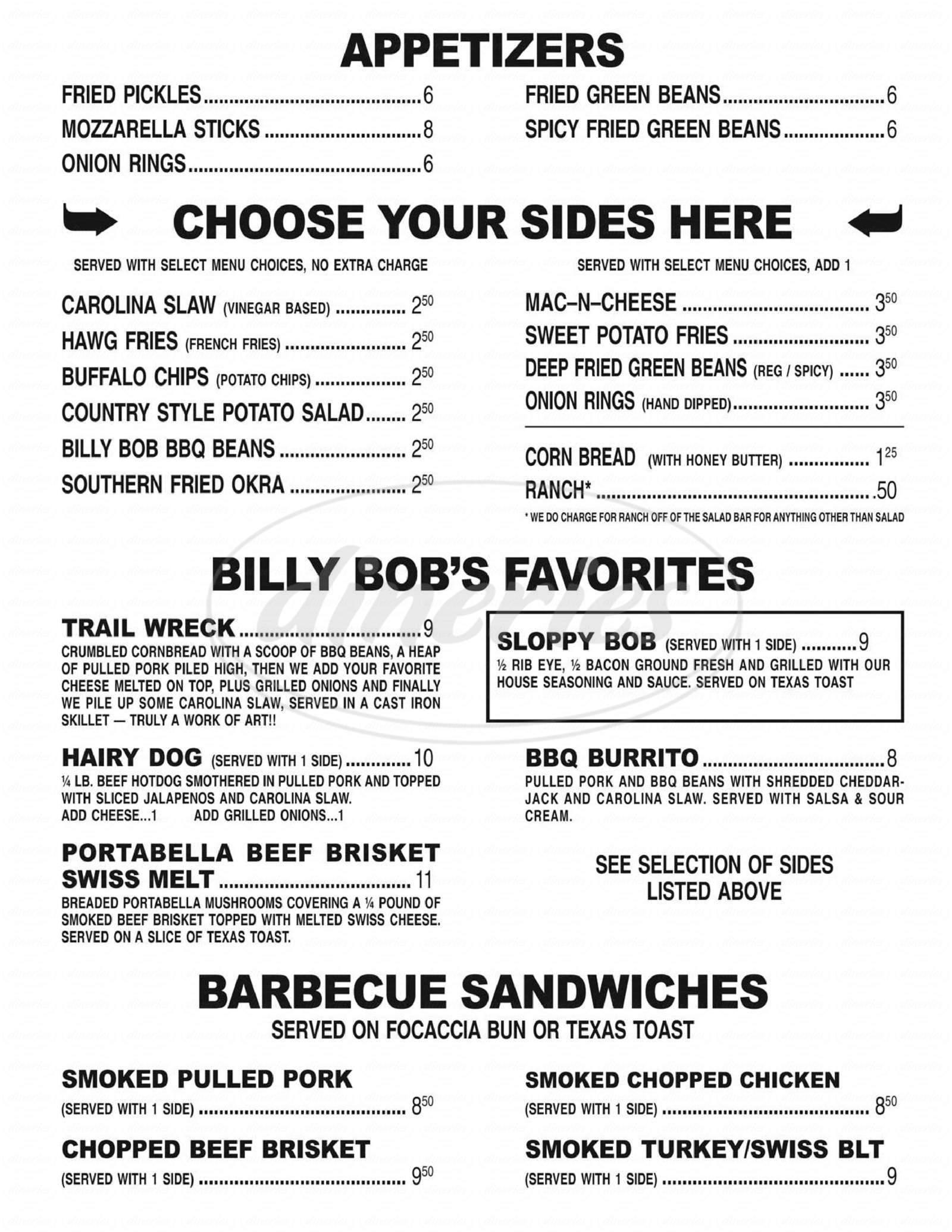 menu for Moose Creek Barbecue