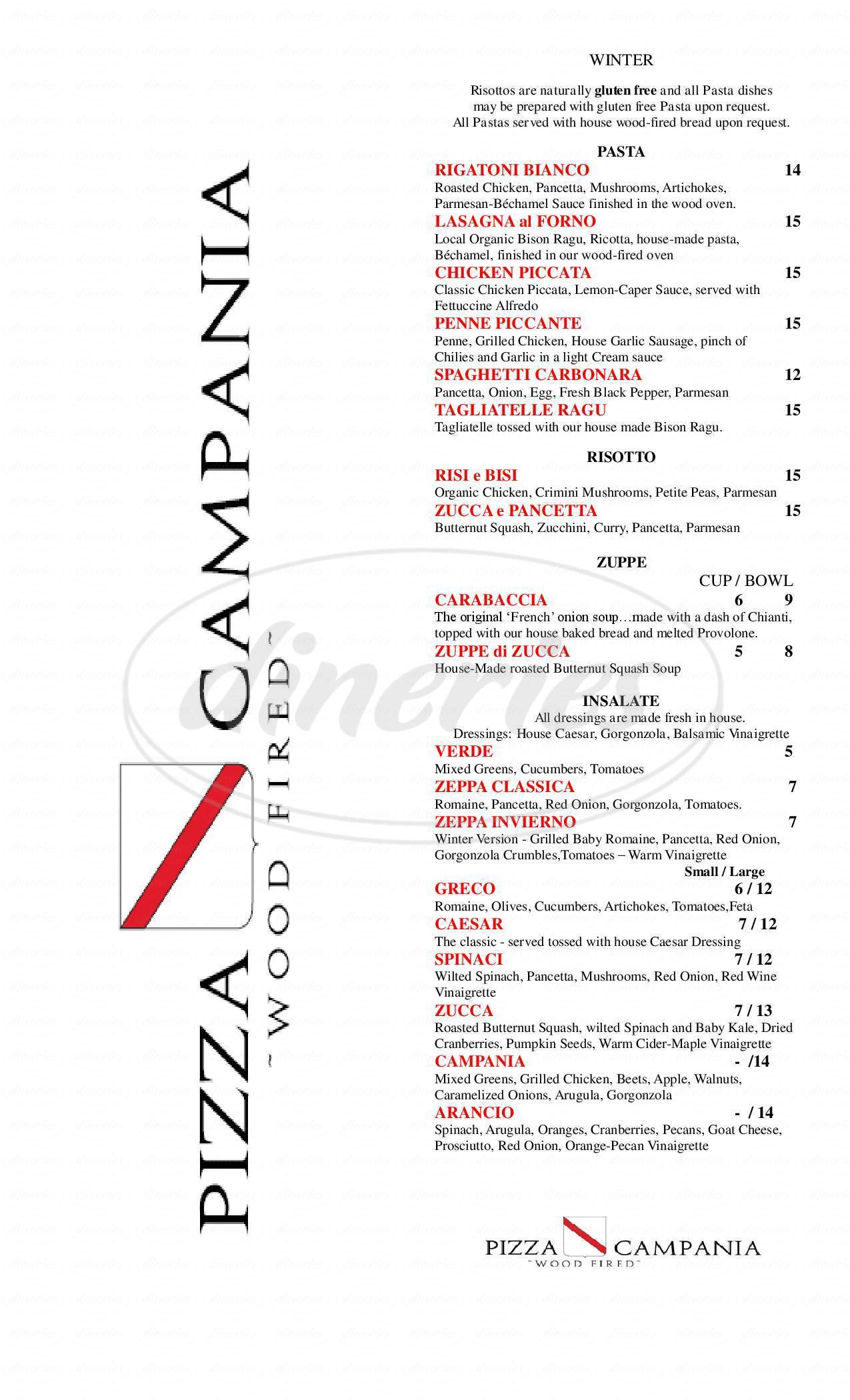menu for Pizza Campania - Wood Fired