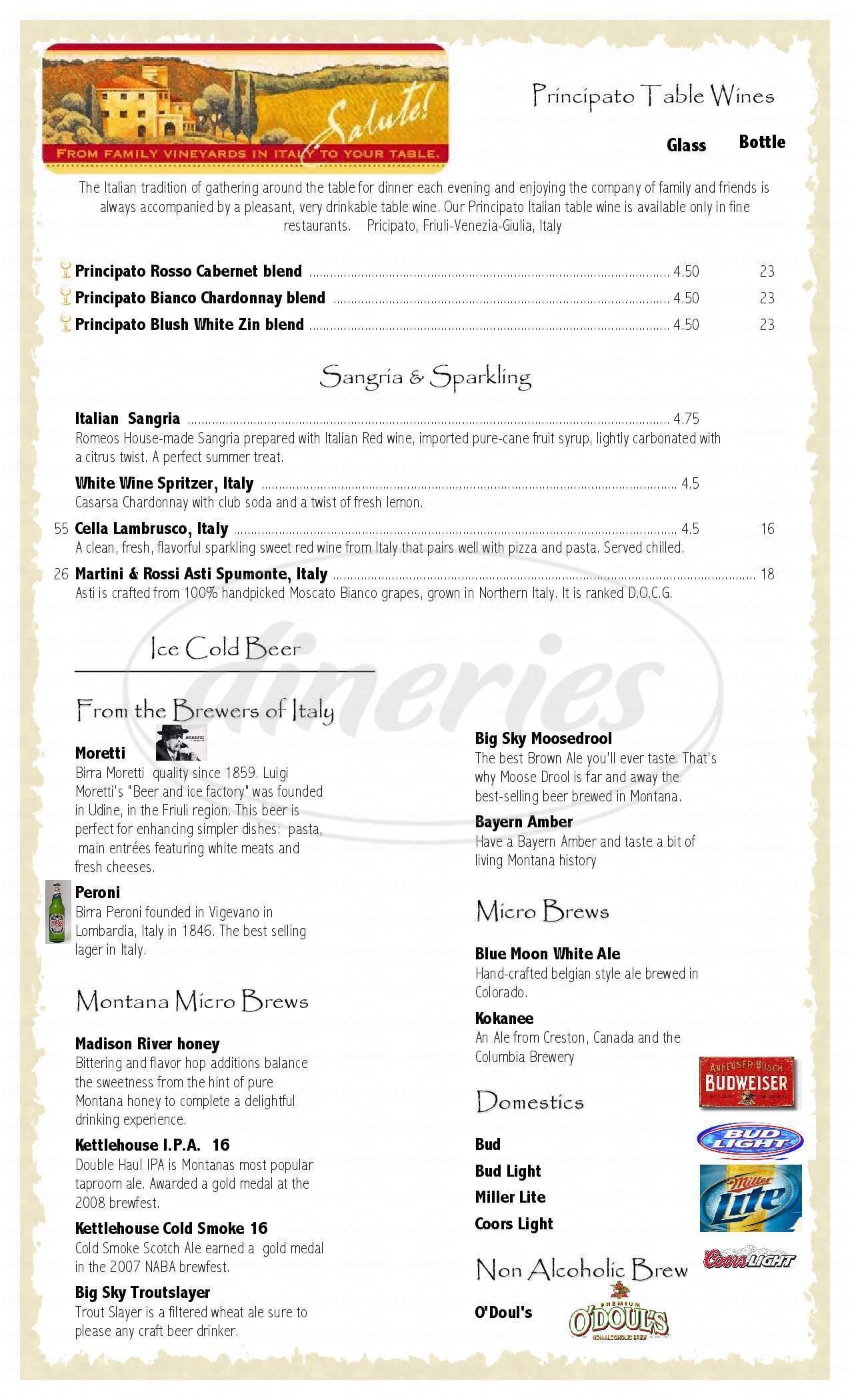 menu for Romeos Italian Kitchen in Stevensville
