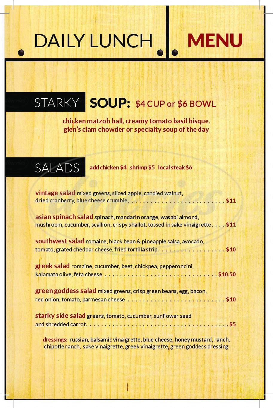 menu for Starky's Authentic Americana