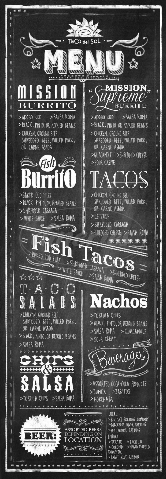 menu for Taco de Sol