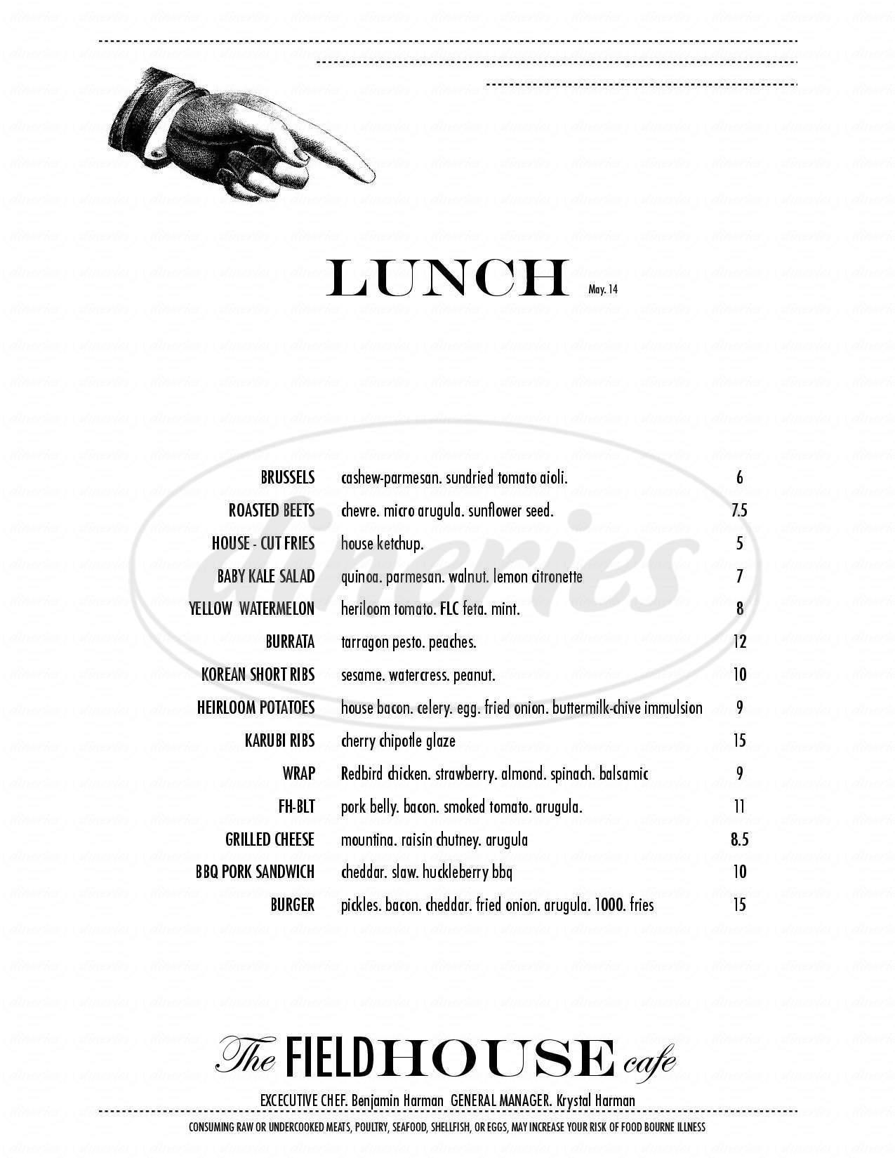 menu for The Fieldhouse Cafe