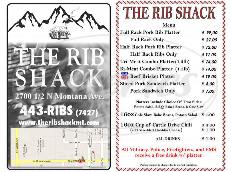 menu for The Rib Shack