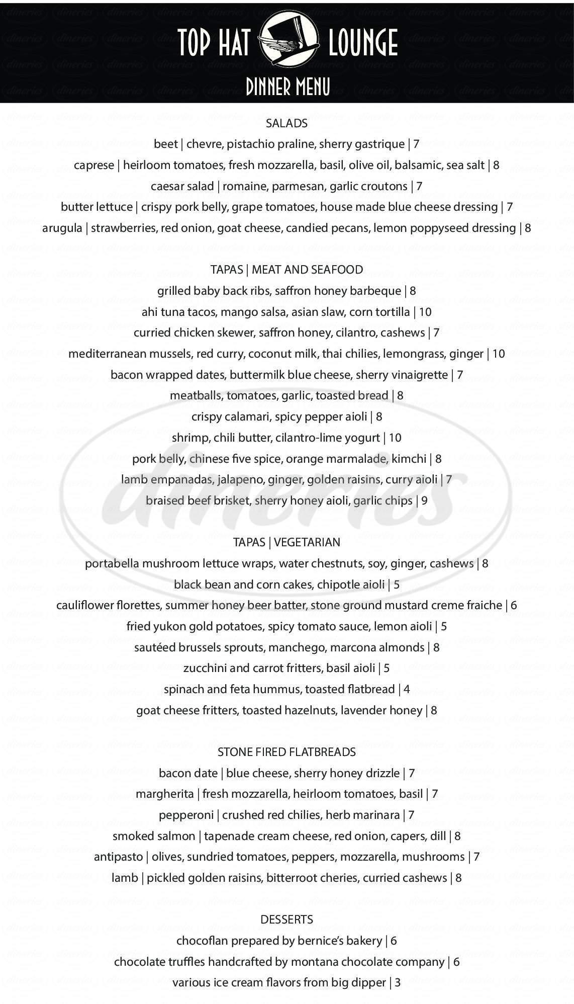 menu for Top Hat