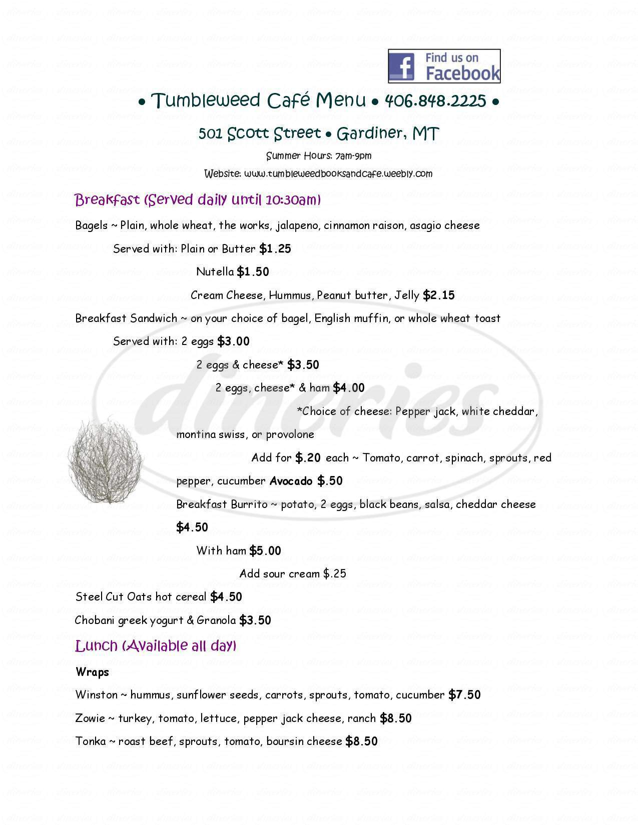 menu for Tumbleweed Bookstore & Cafe