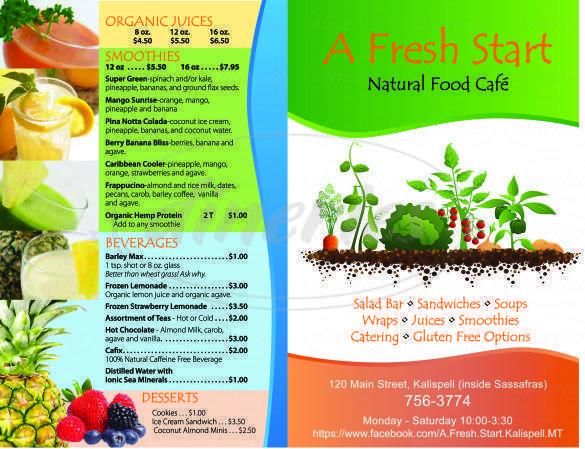 menu for A Fresh Start