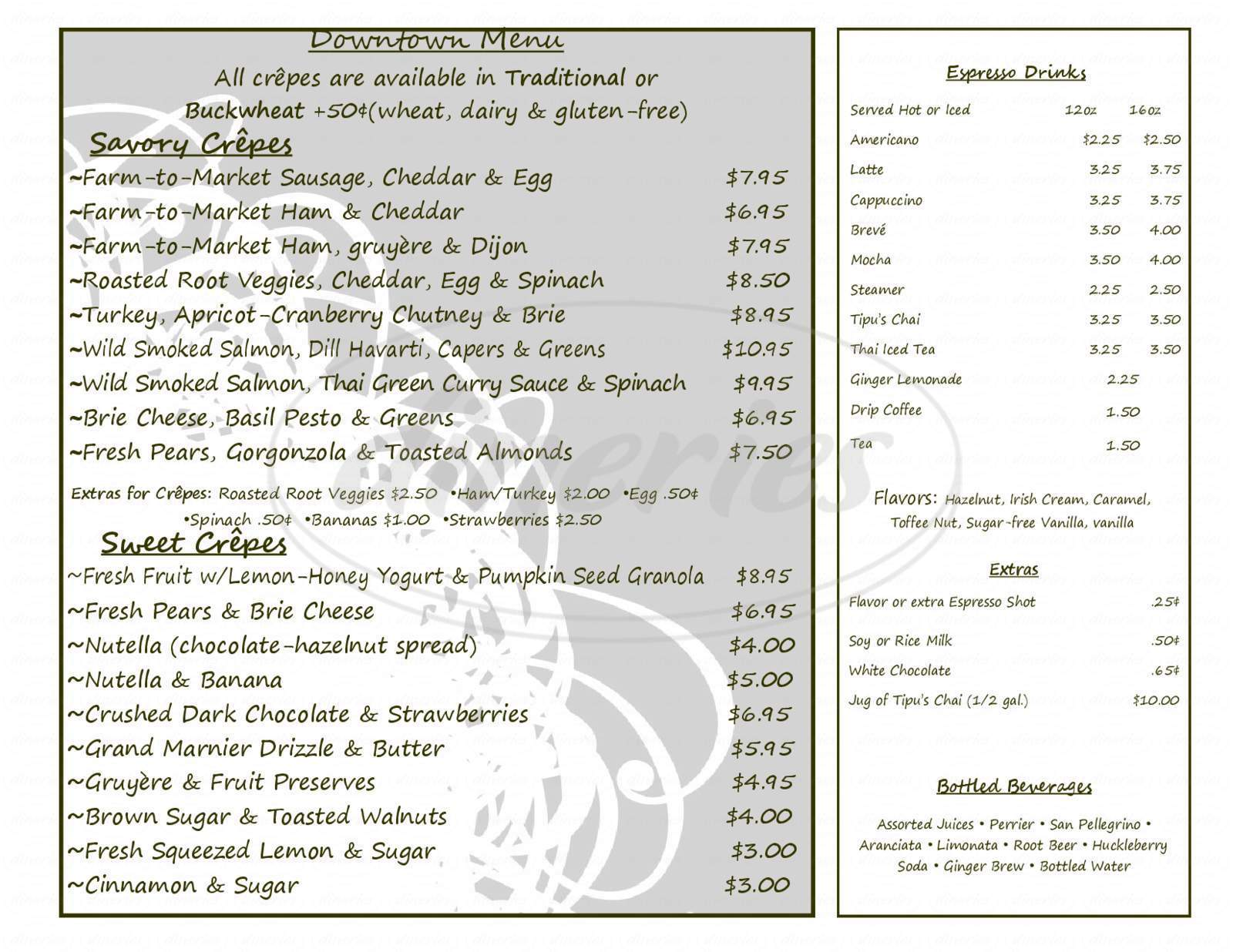 menu for Amazing Crepes & Catering