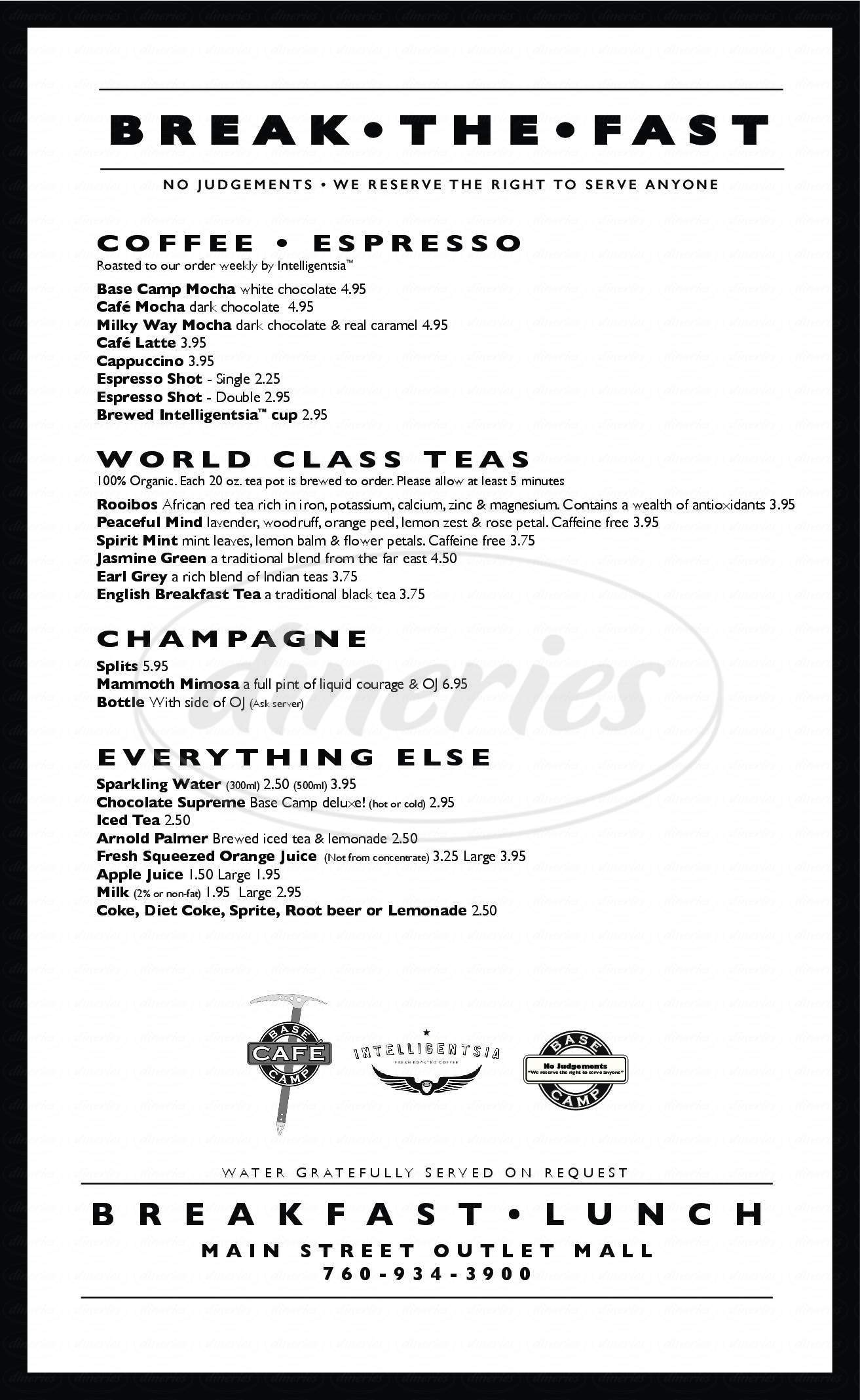 menu for Base Camp Cafe