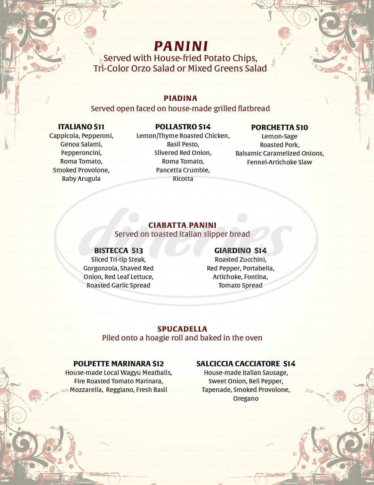 menu for Andiamo