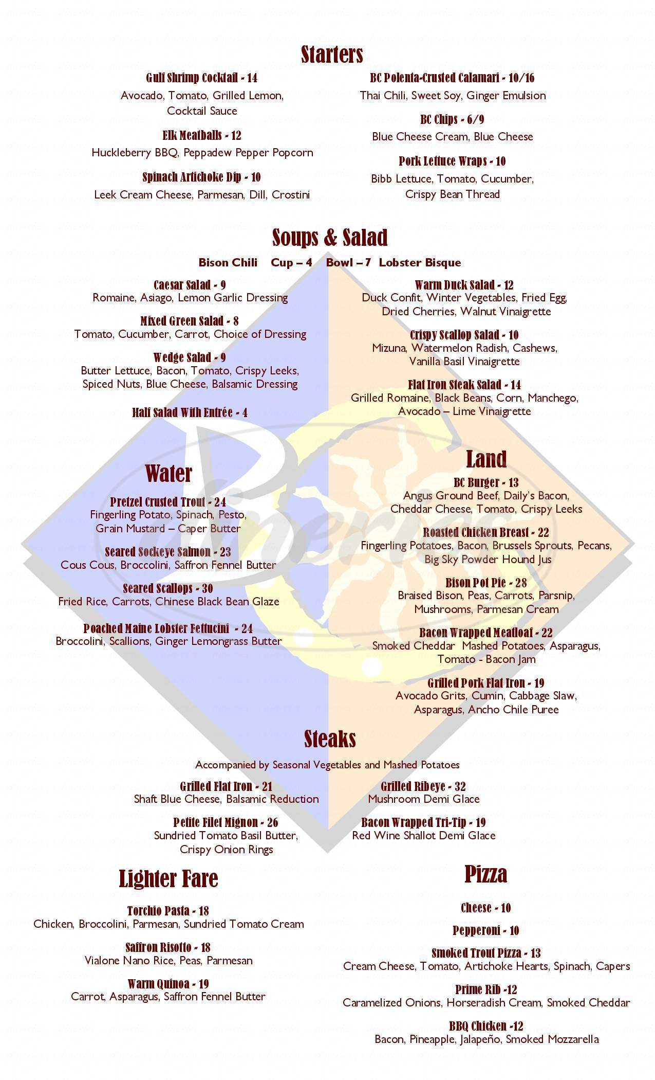 menu for Blue Canyon Kitchen and Tavern