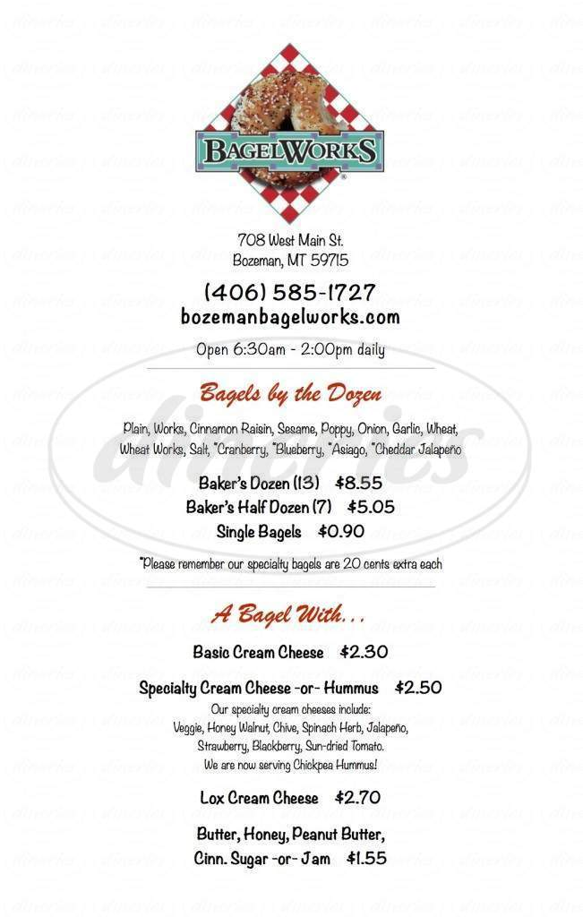 menu for Bagelworks