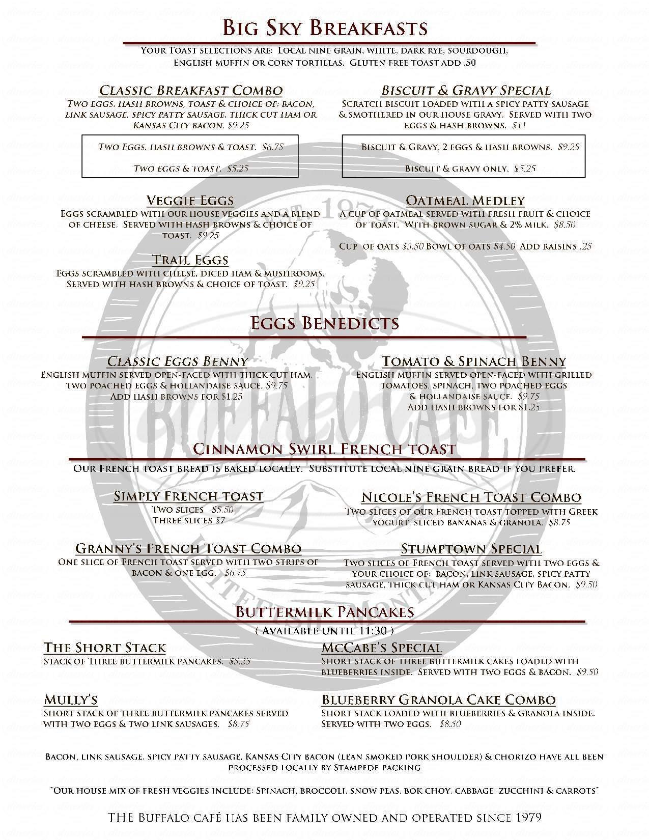 menu for Buffalo Cafe