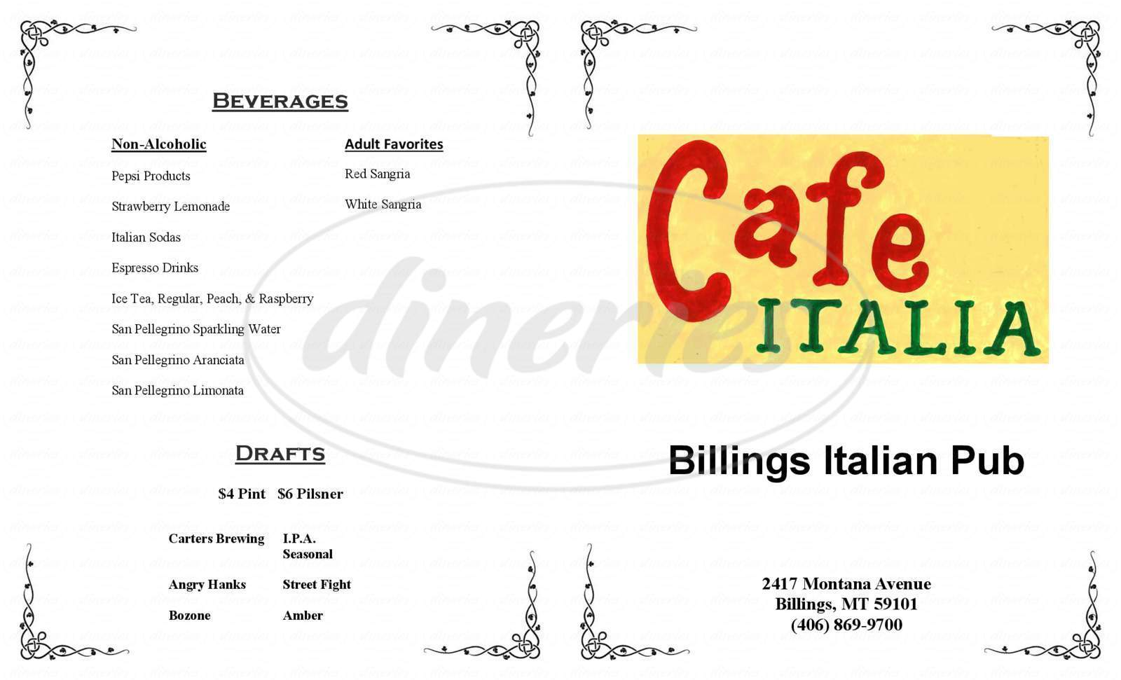 menu for Cafe Italia