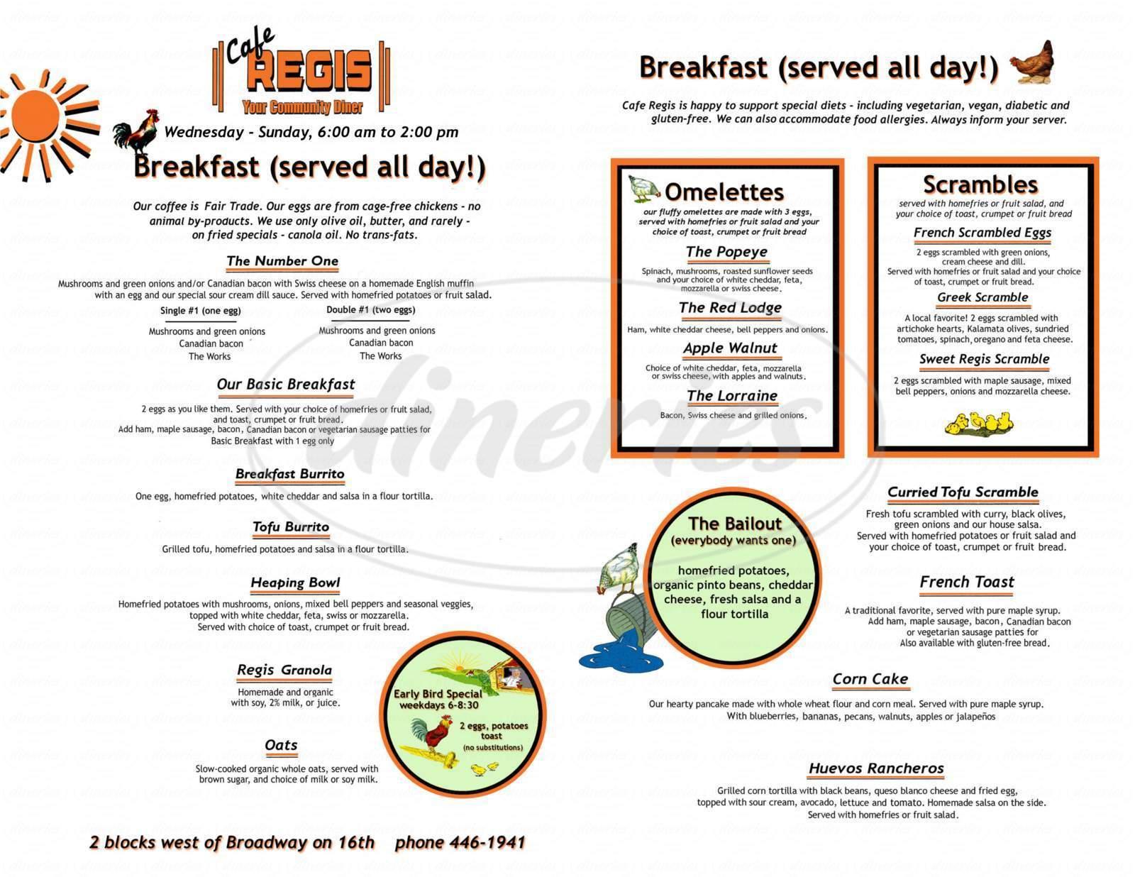 menu for Cafe Regis
