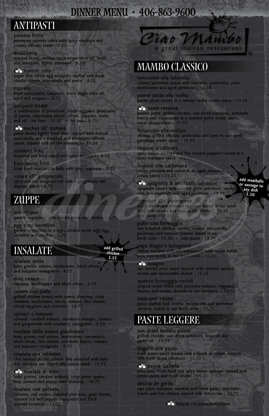 menu for Ciao Mambo