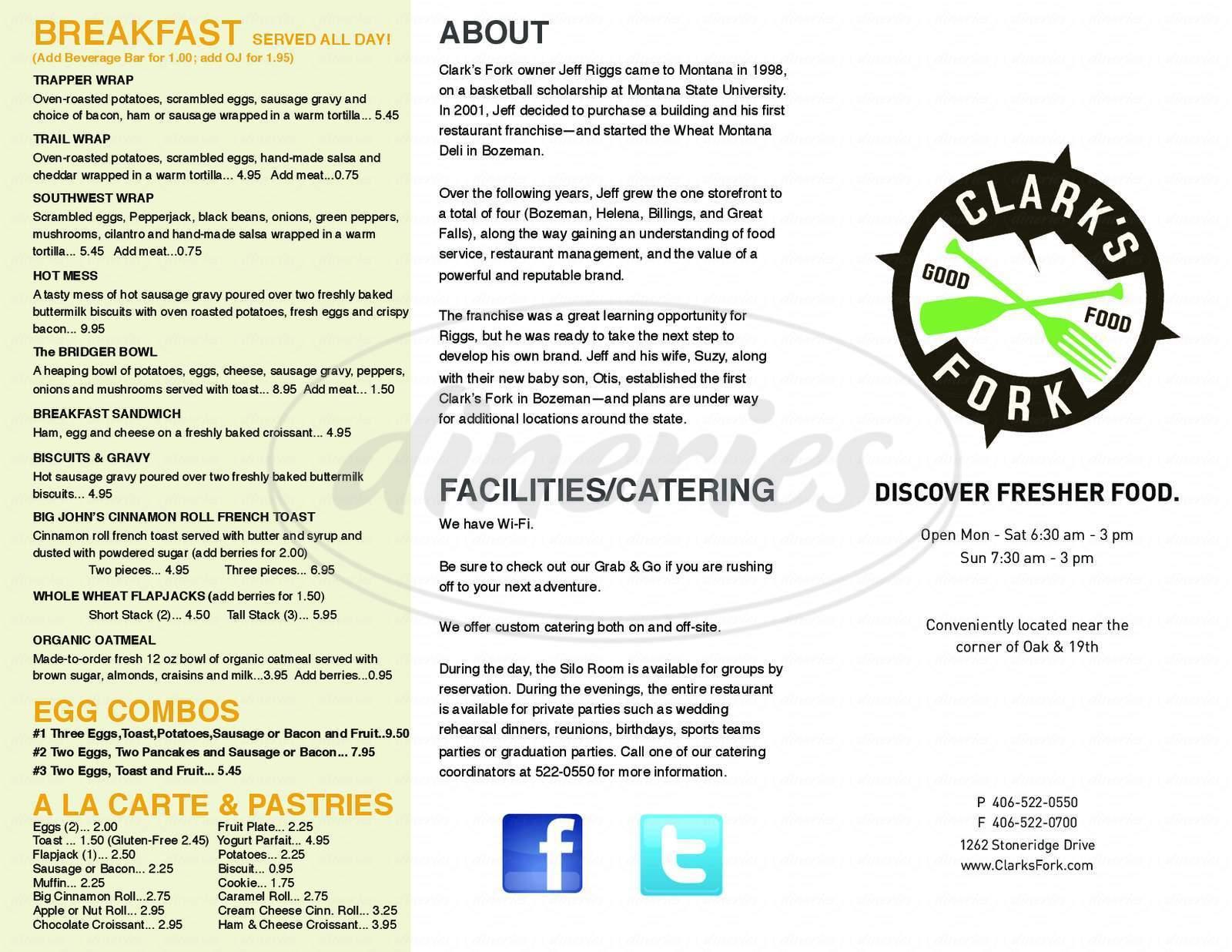 menu for Clarks Fork