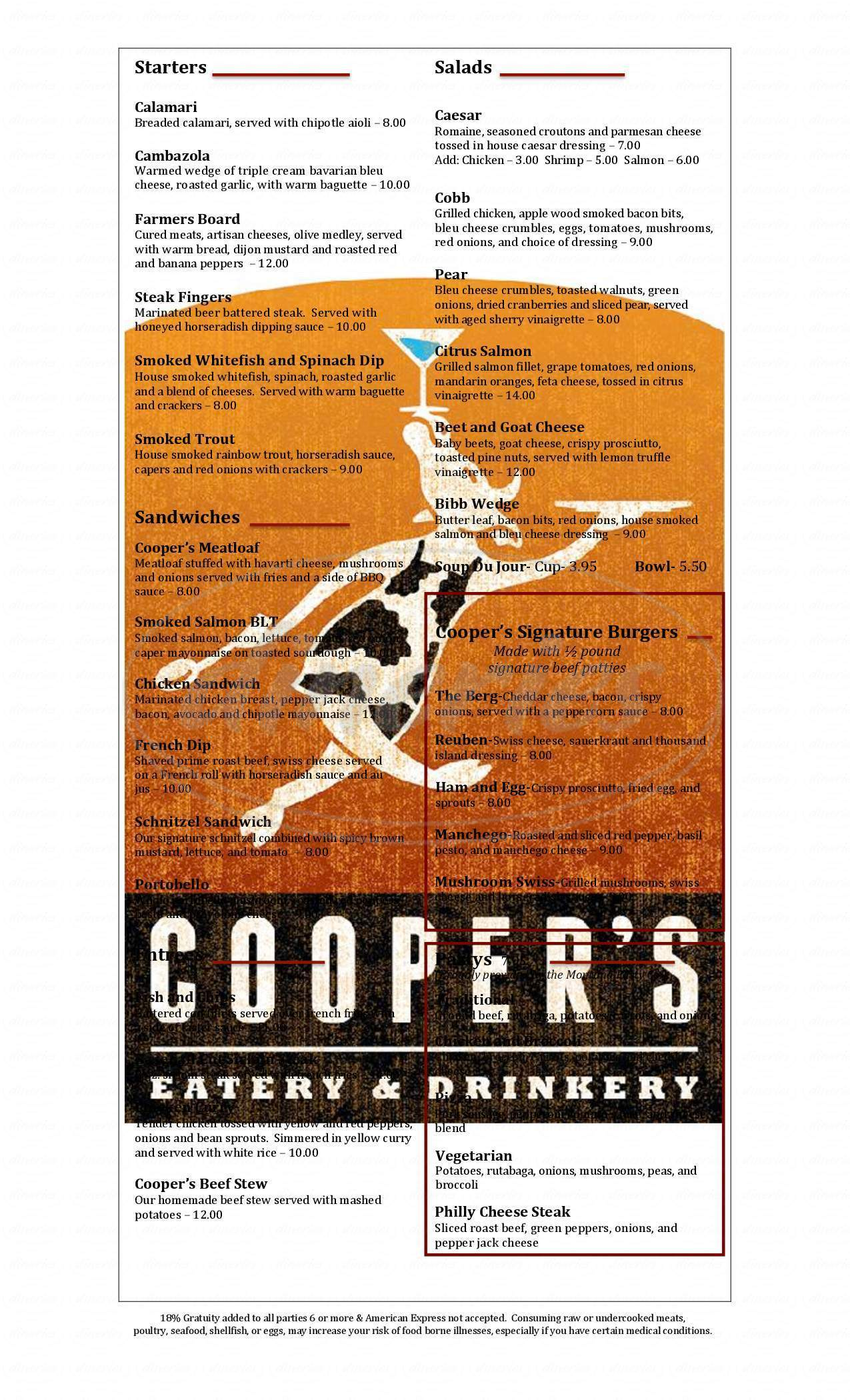 menu for Cooper's Eatery & Drinkery