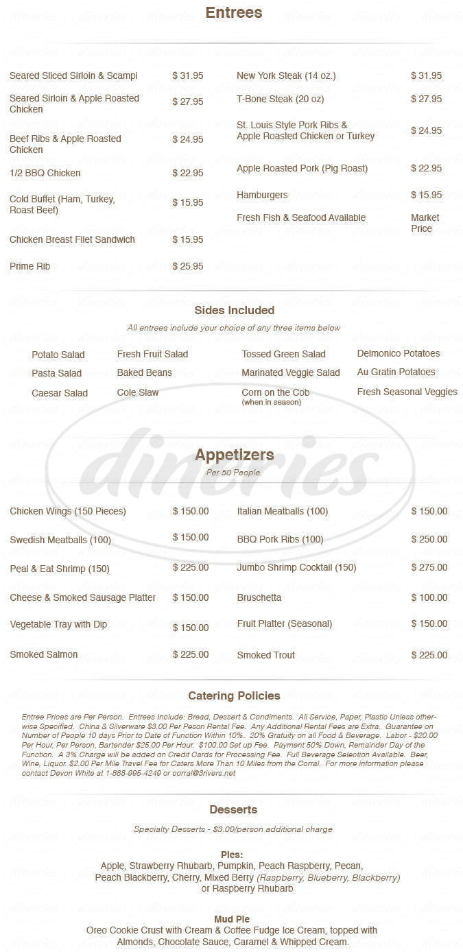 menu for Corral Bar, Steakhouse & Motel