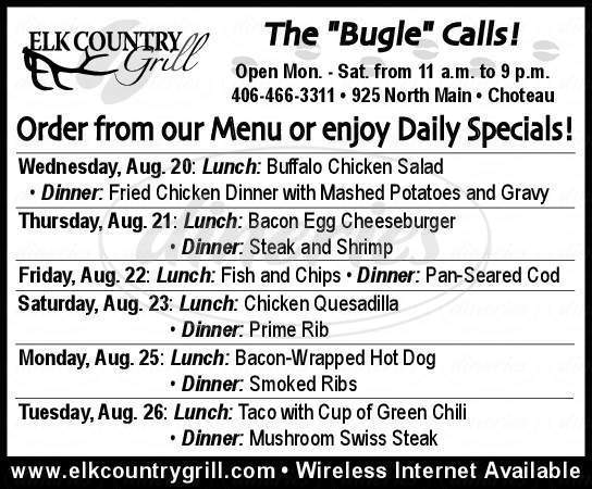 menu for Elk Country Grill