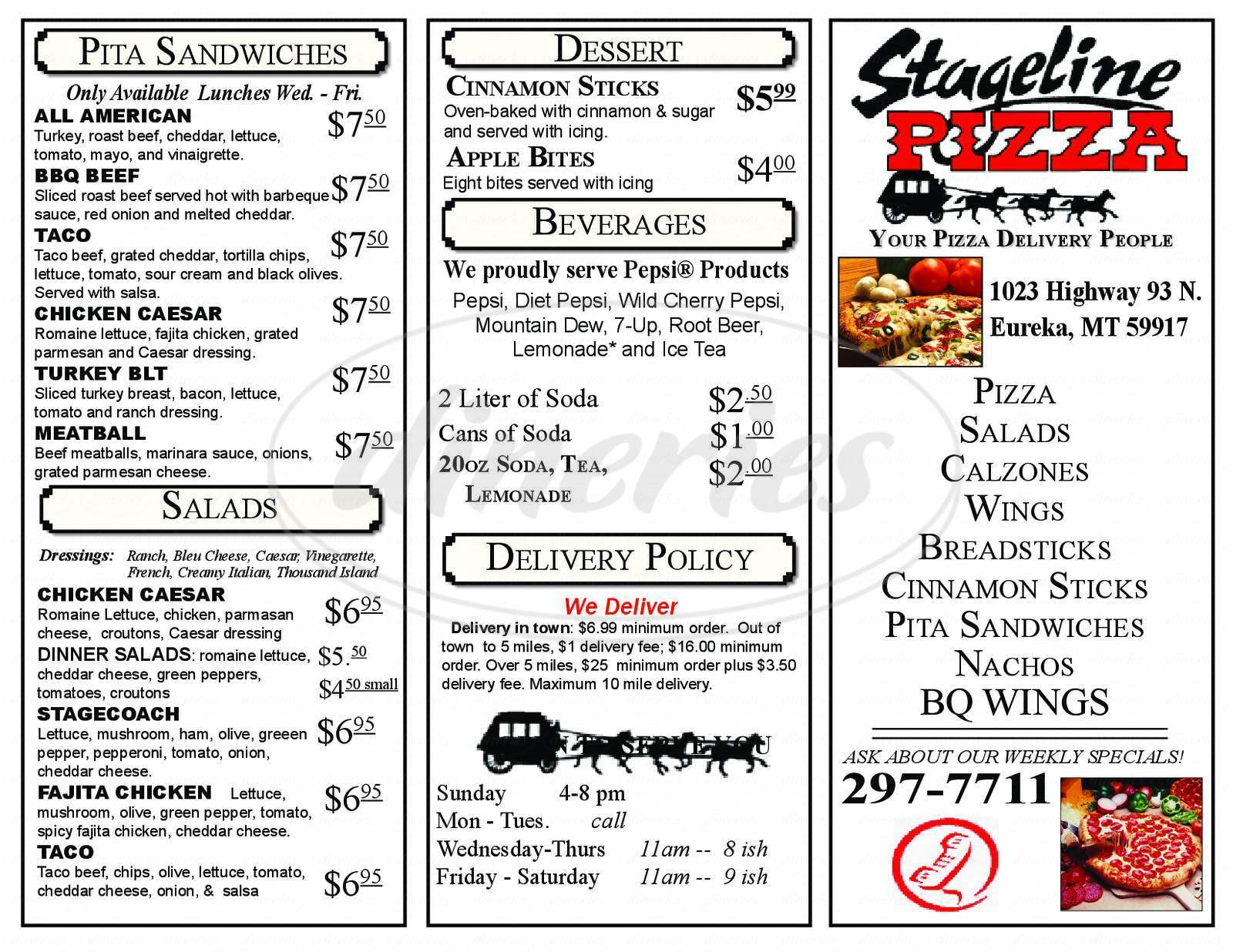 menu for Stageline Pizza