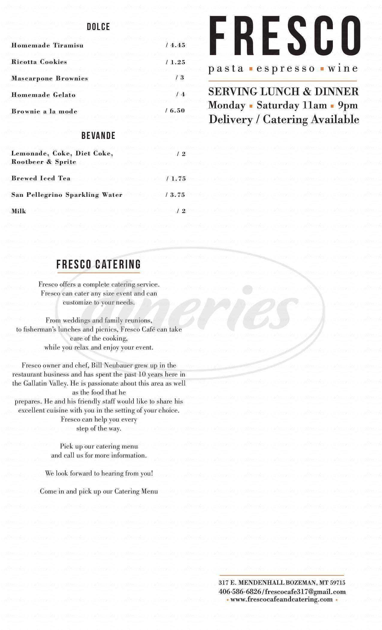 menu for Fresco Cafe