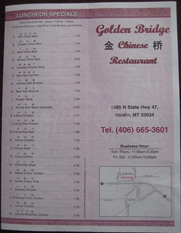 menu for Golden Bridge Chinese Restaurant