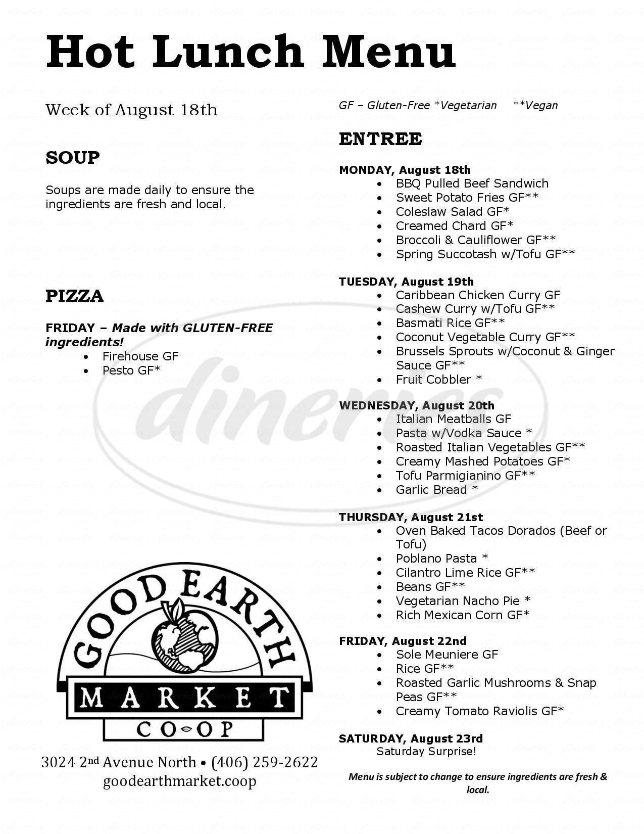 menu for Good Earth Market