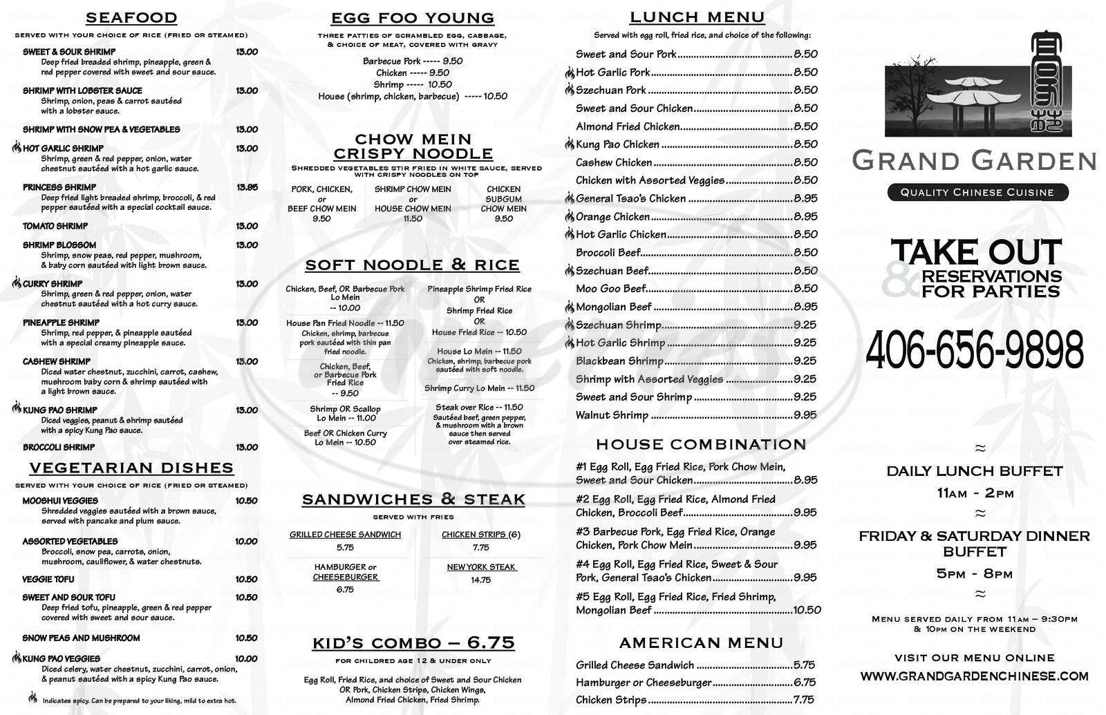 menu for Grand Garden Chinese Cuisine